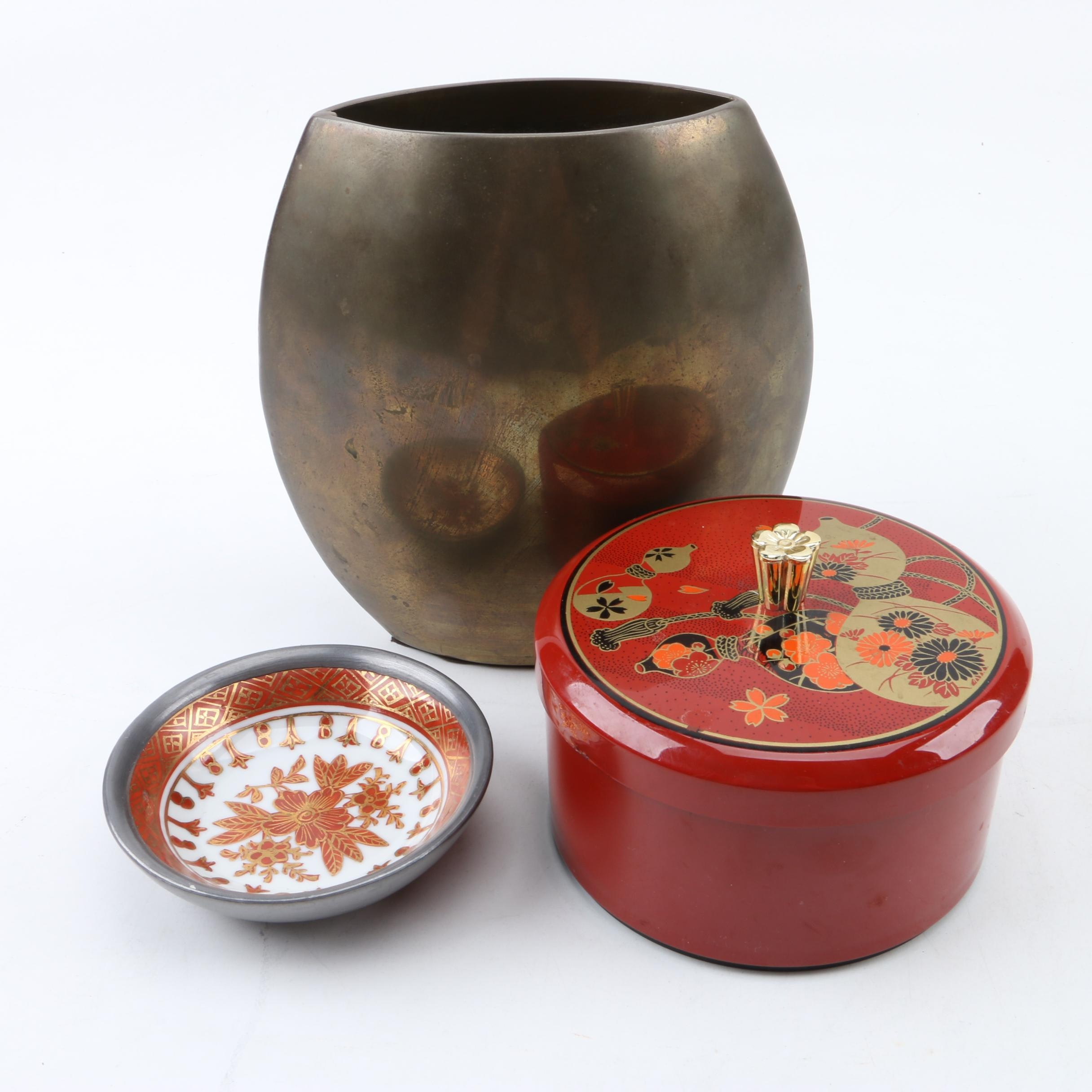 East Asian Vase, Trinket Box and Dish