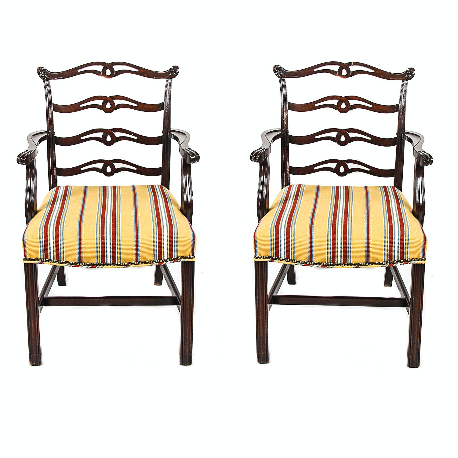 Pair Of Chippendale Style Upholstered Chairs ...