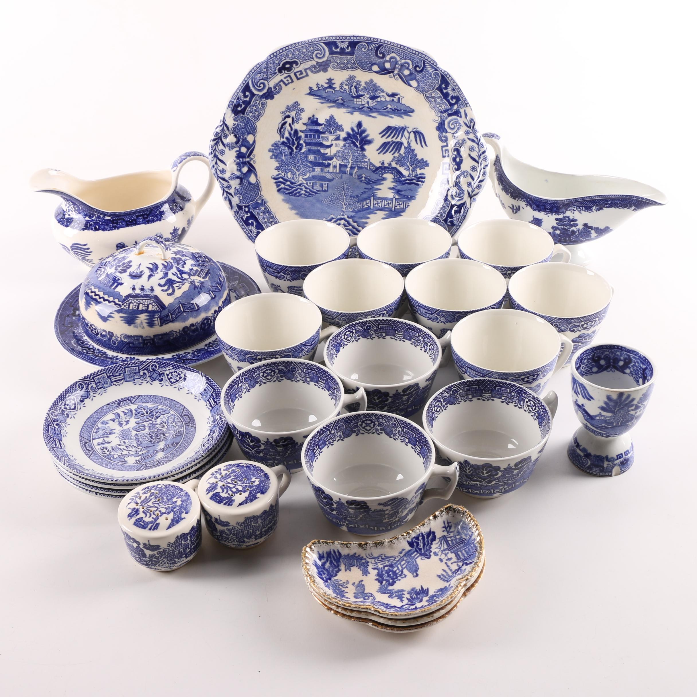 "Vintage ""Blue Willow"" Tableware by John Maddock & Sons and Newport Pottery"