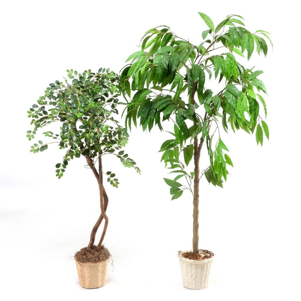 pair of artificial decorative trees : ebth