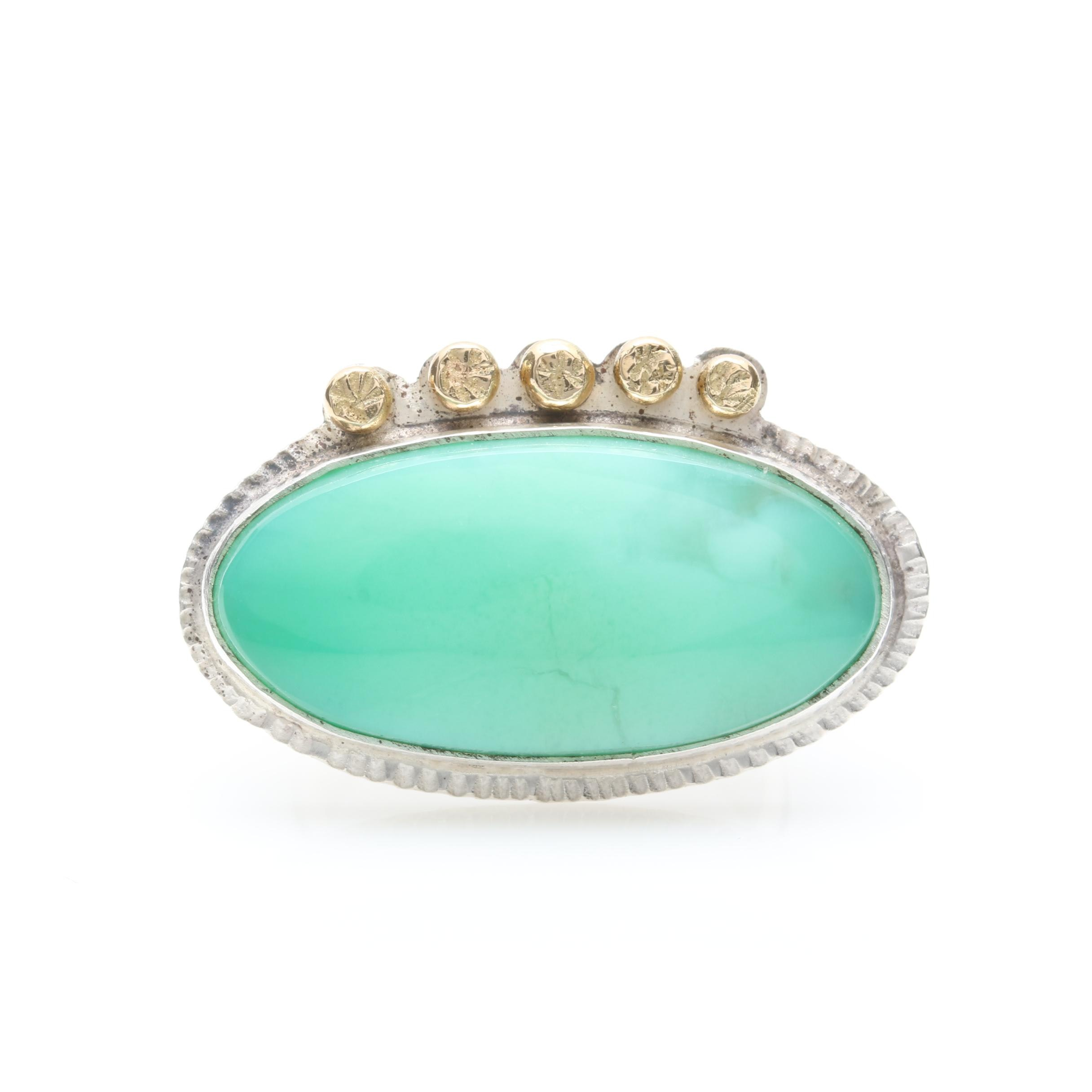 Sterling Silver Chrysoprase Ring With 18K Yellow Gold Accents