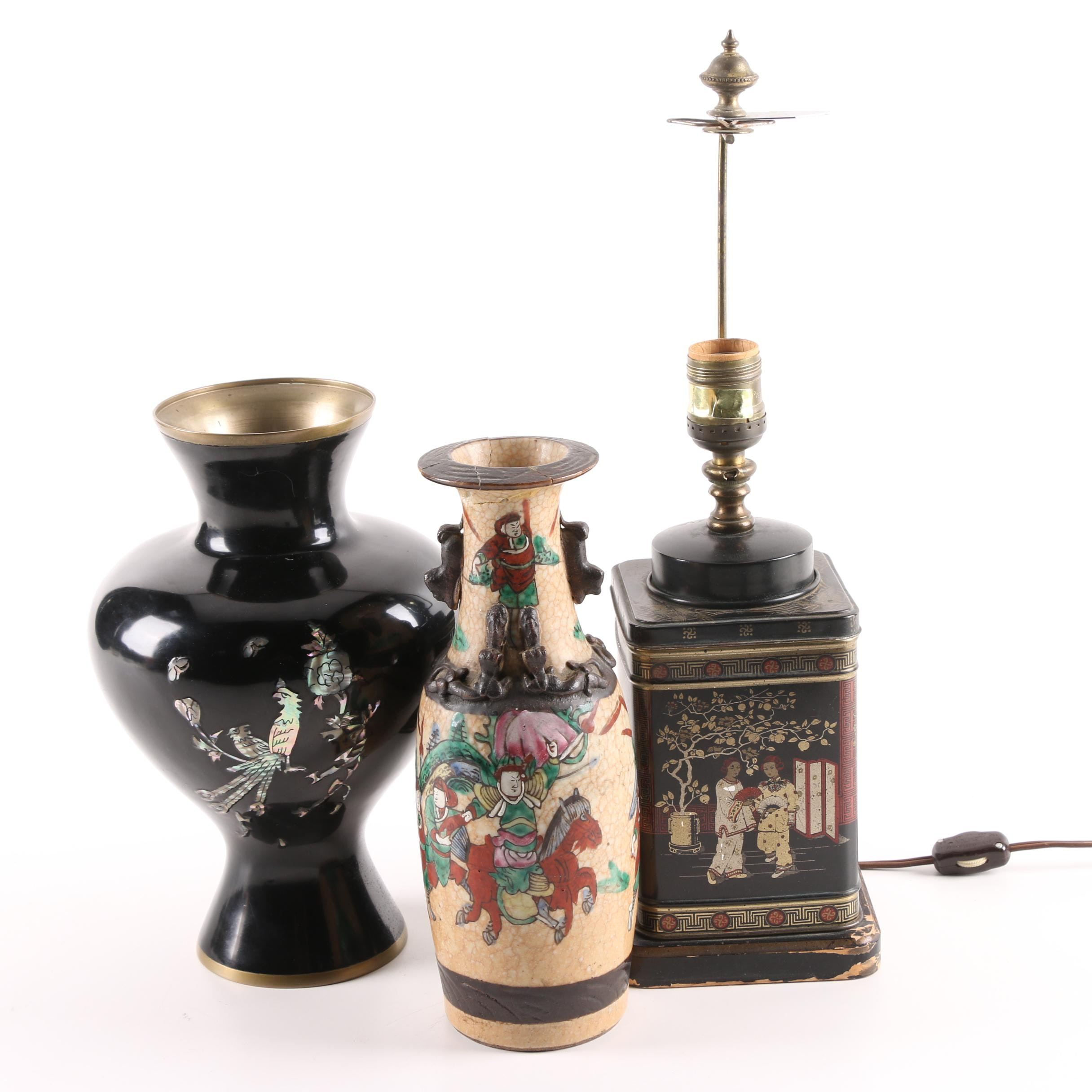 Chinoiserie Tea Tin Table Lamp and Asian Vases Including Abalone Inlay