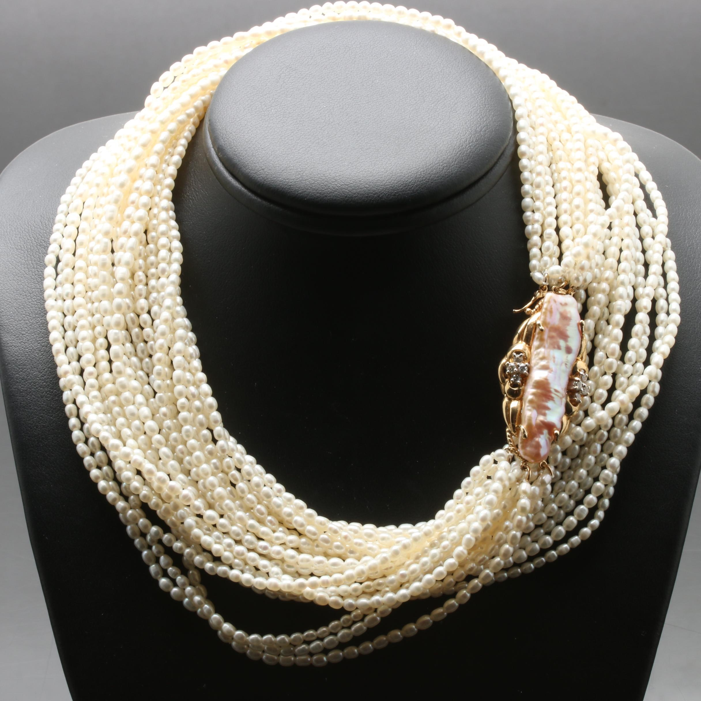14K Yellow Gold Keshi and Seed Pearl Diamond Strand Necklace