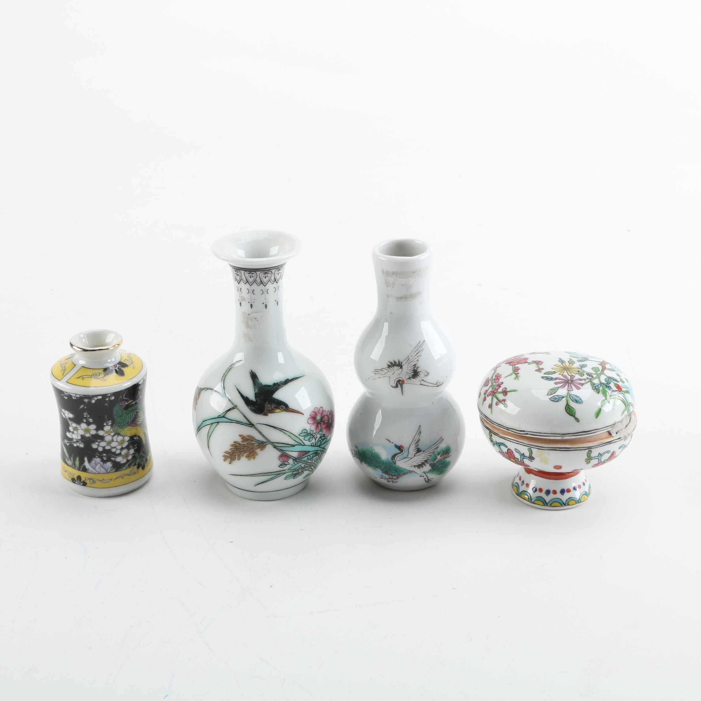 Hand-Painted Ceramic Vases and Trinket Box