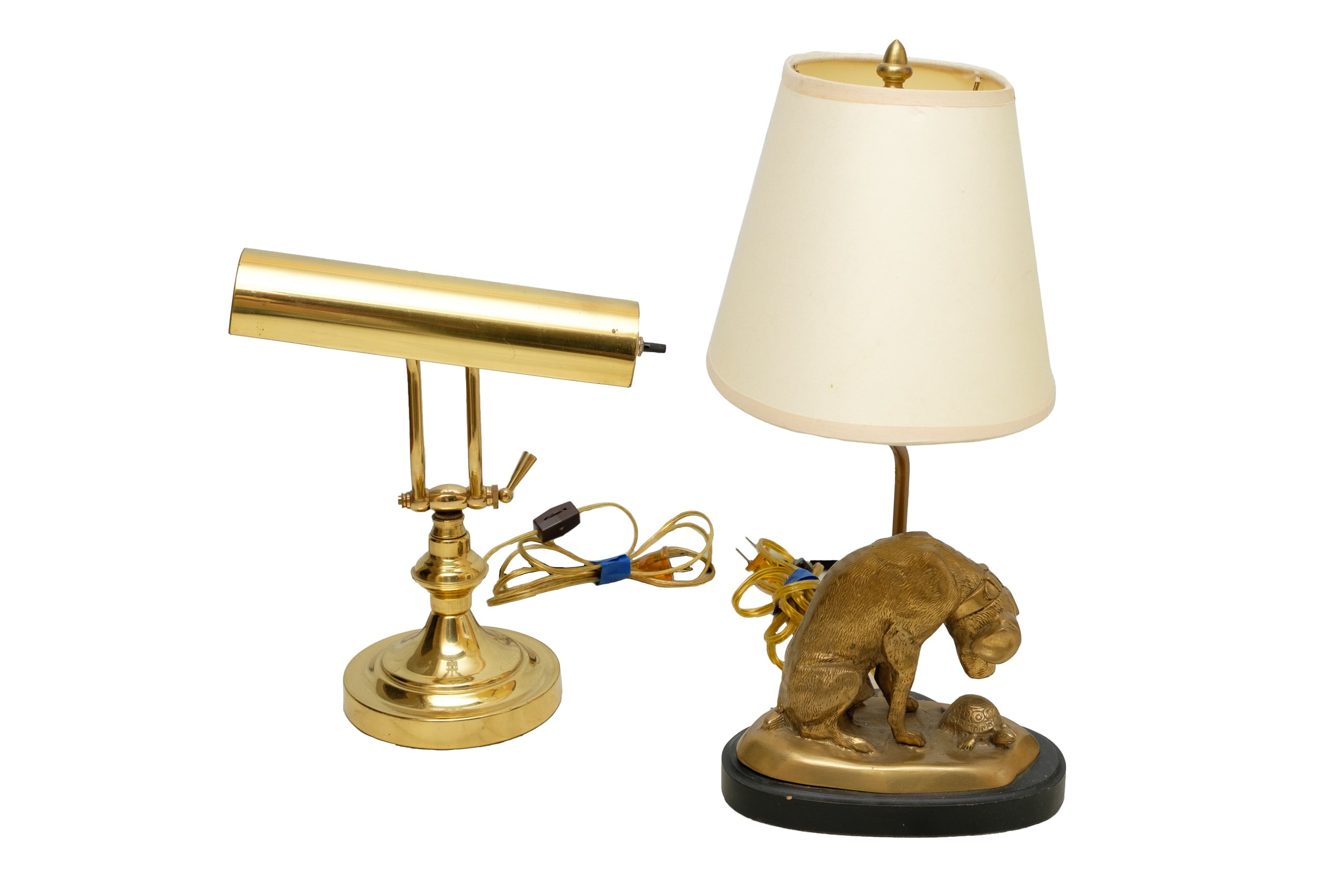 Vintage Brass Piano Lamp and Brass Dog and Tortoise Figural Lamp