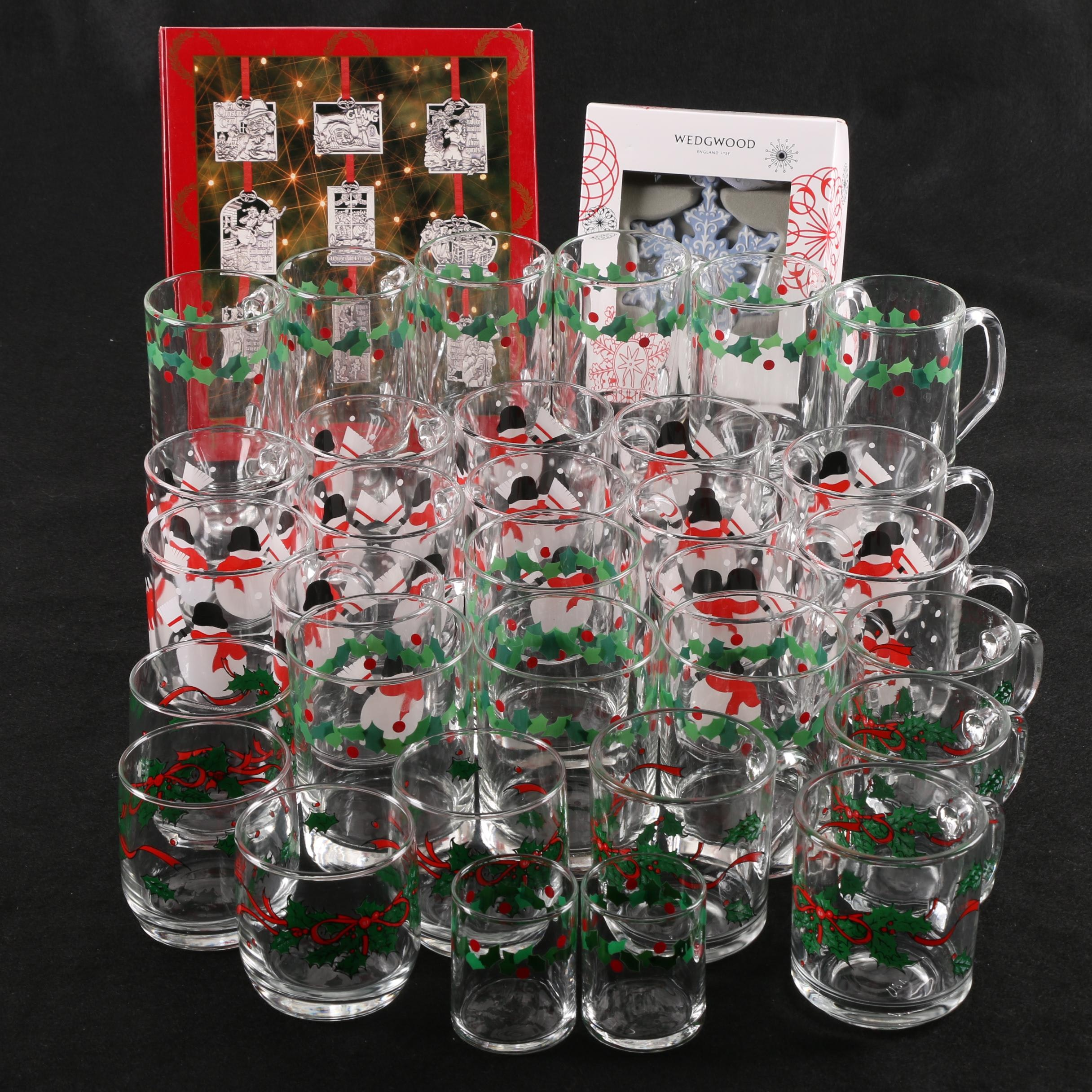 Christmas Themed Glassware and Ornaments