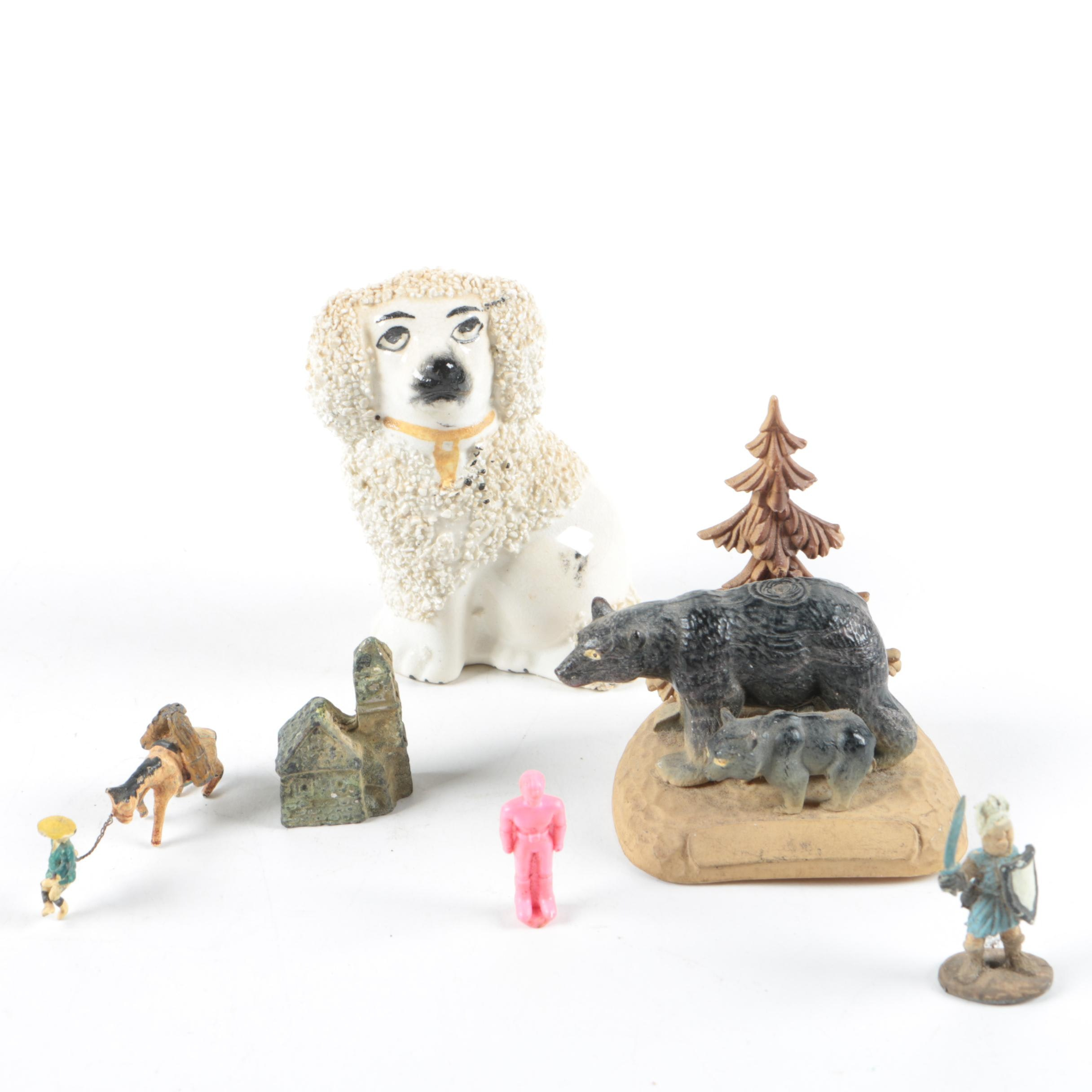 Vintage Old Staffordshire Ware Poodle and Other Figurines