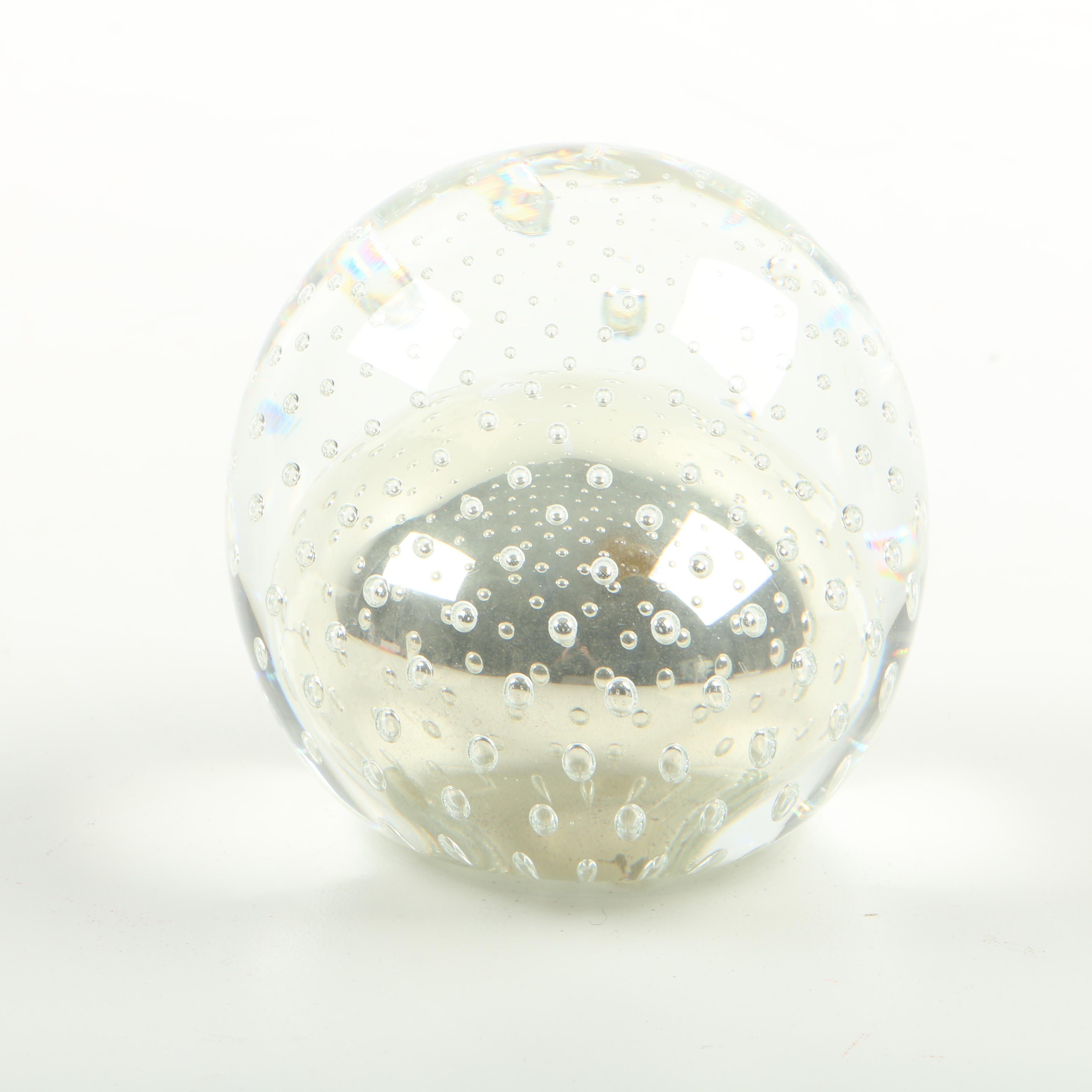 Hand-Blown Mercury Glass Raindrop Paperweight