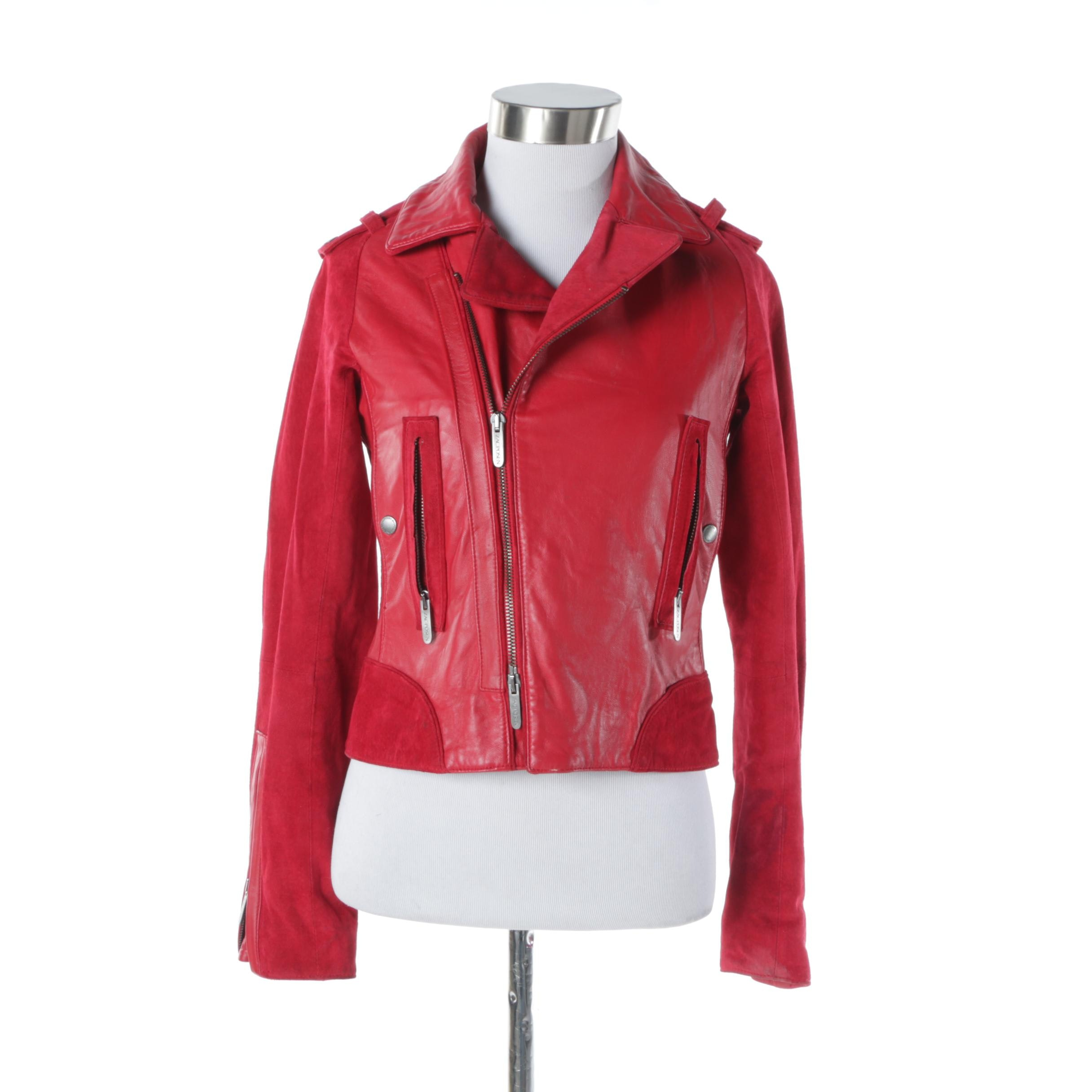 Zac Posen for Target Red Leather and Suede Moto Jacket