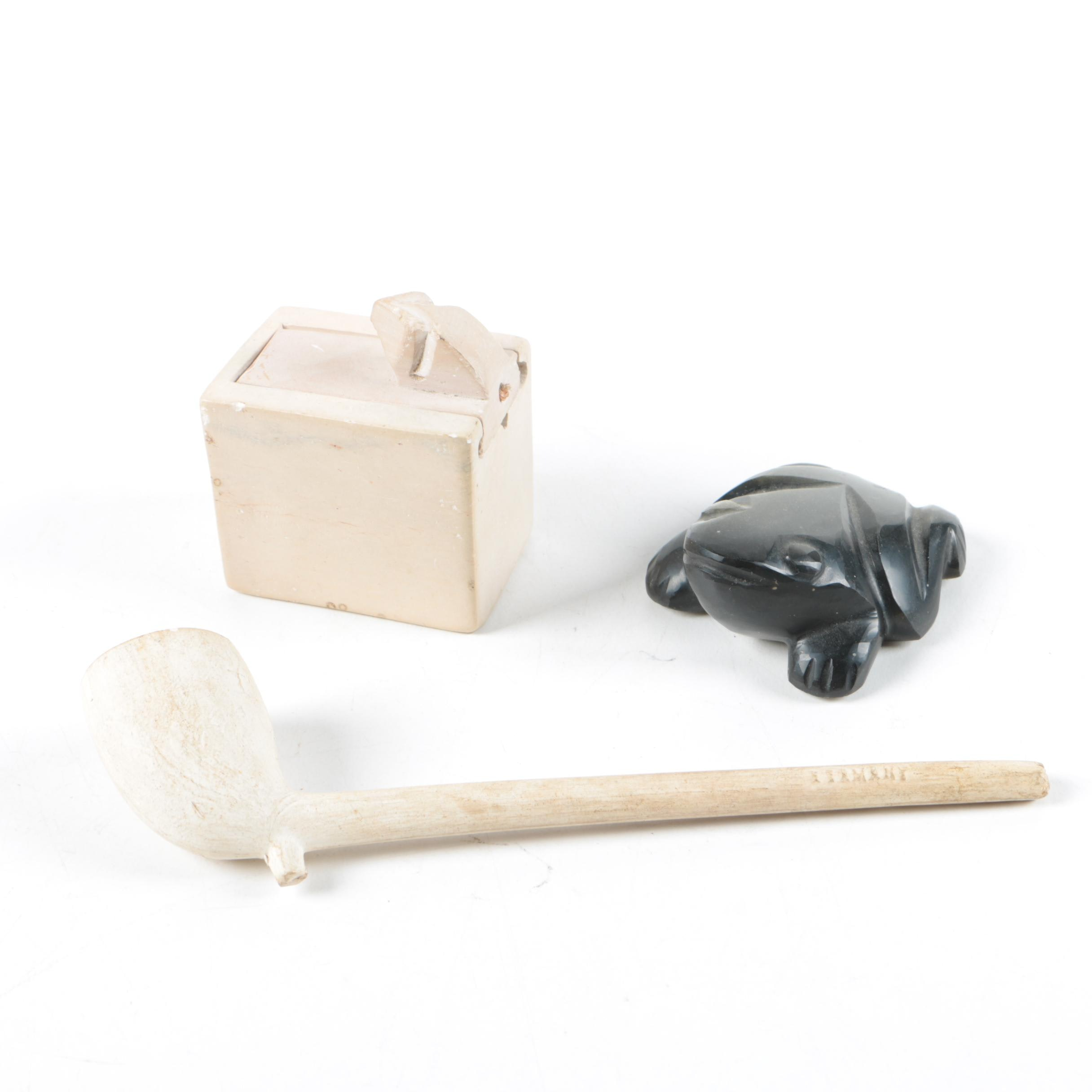 Vintage Clay Pipe, Soapstone Box, and Agate Figurine