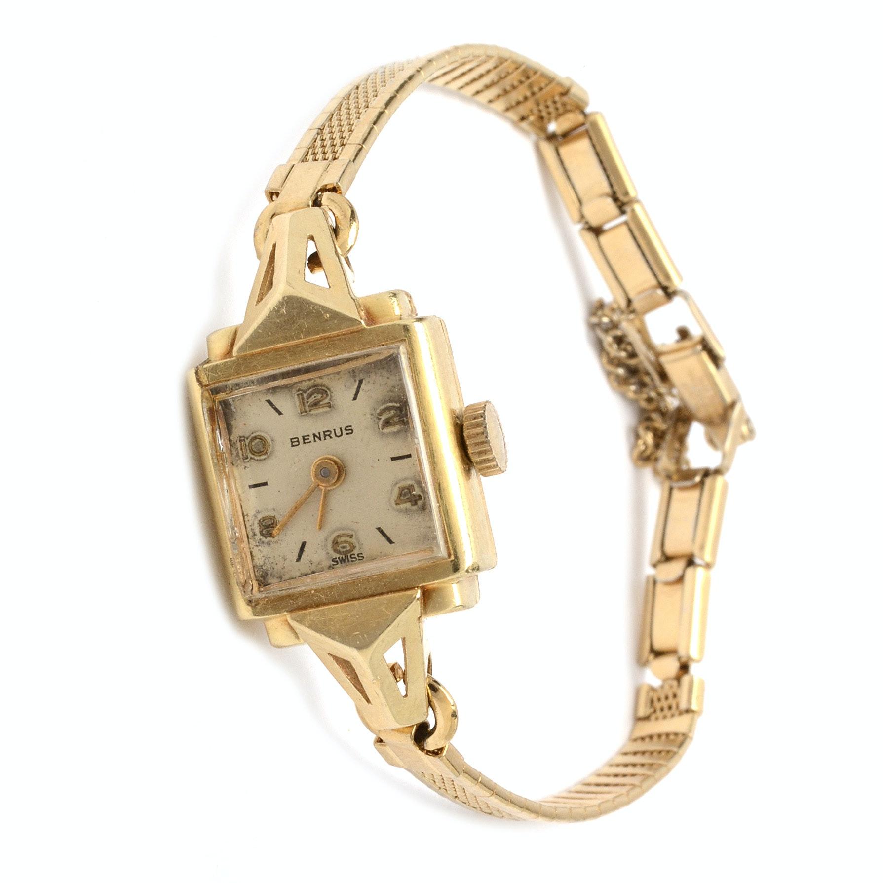 14K Yellow Gold Benrus Swiss Wristwatch