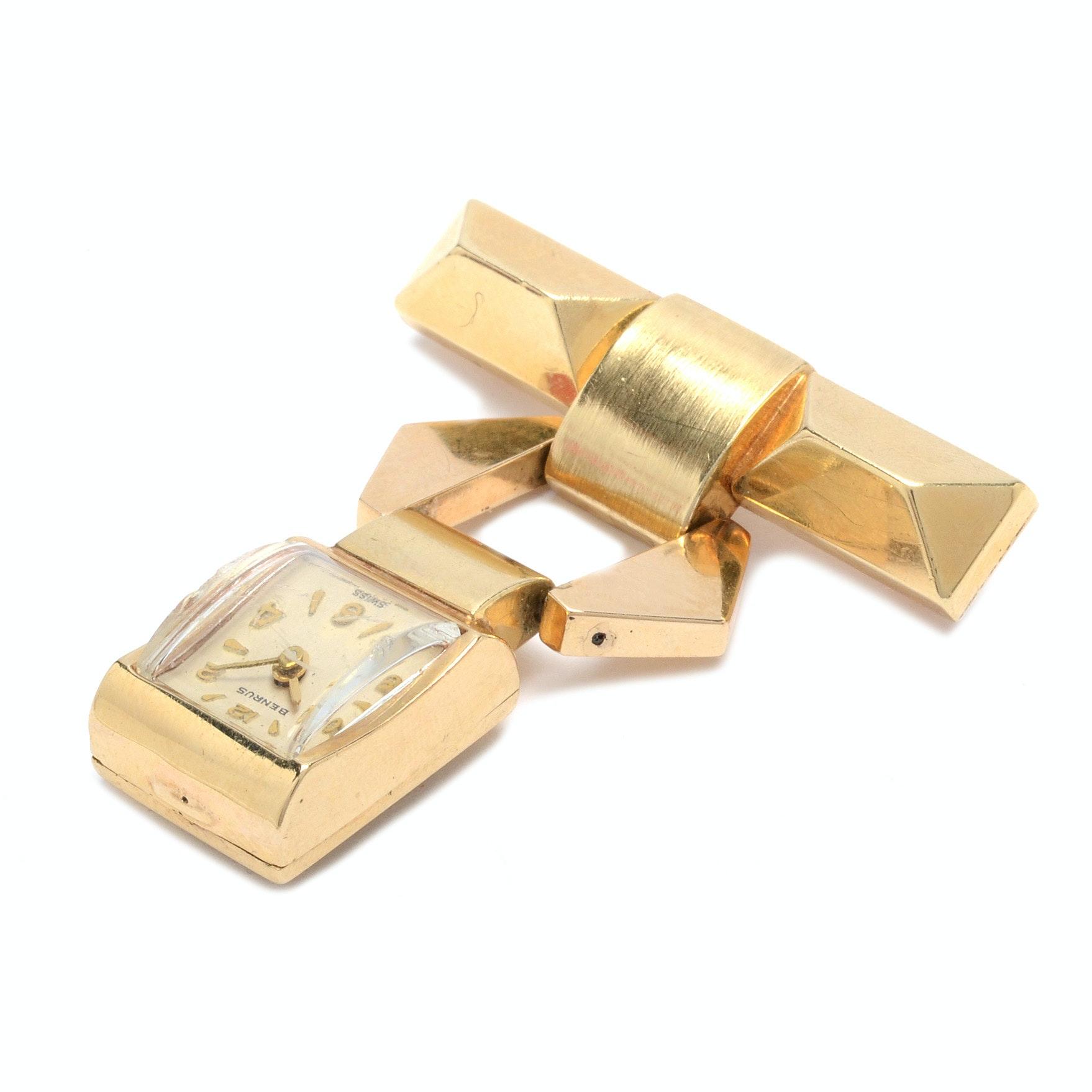 14K Yellow Gold Benrus Swiss Watch Pin