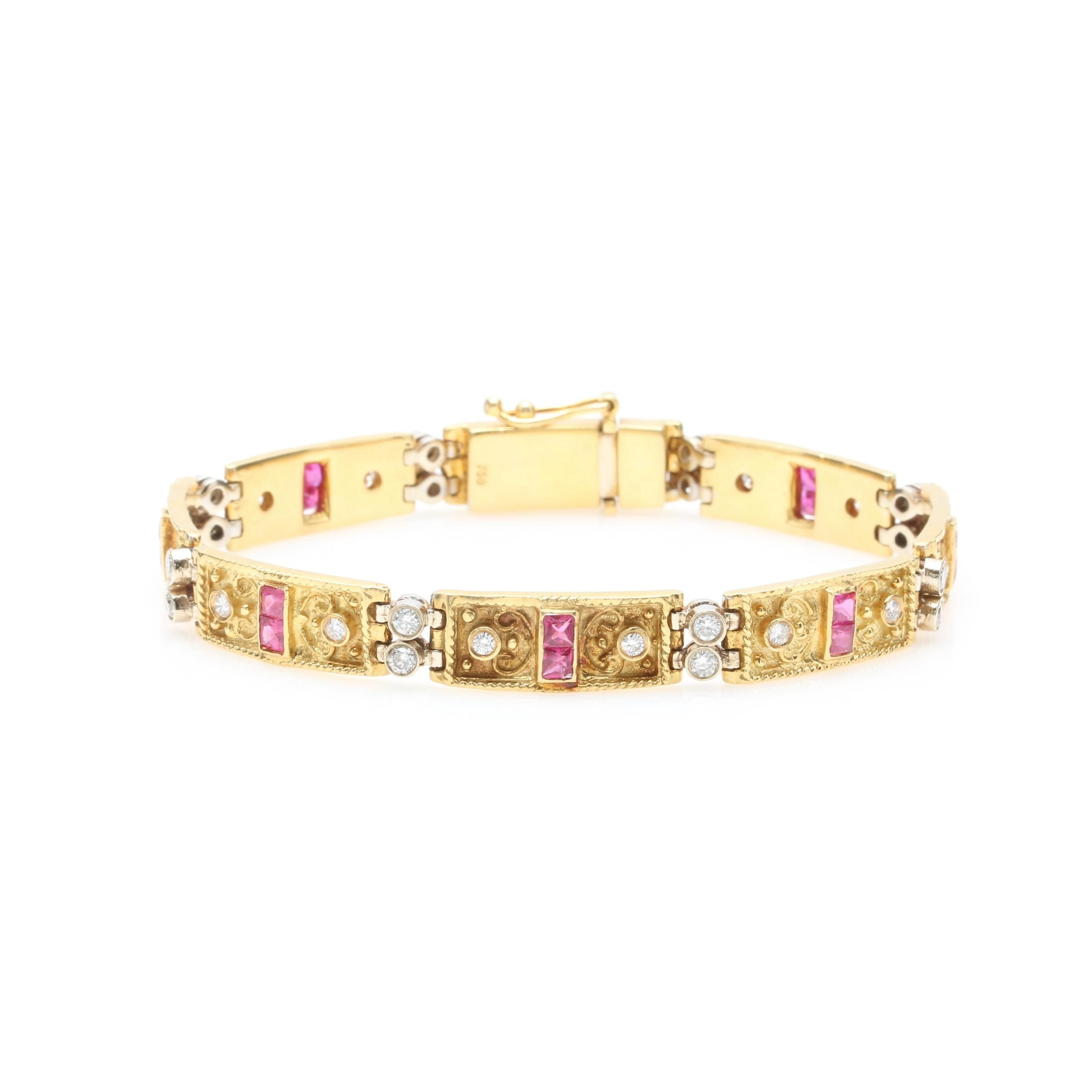 18K Two Tone Gold 1.28 CTW Diamond and Ruby Bracelet