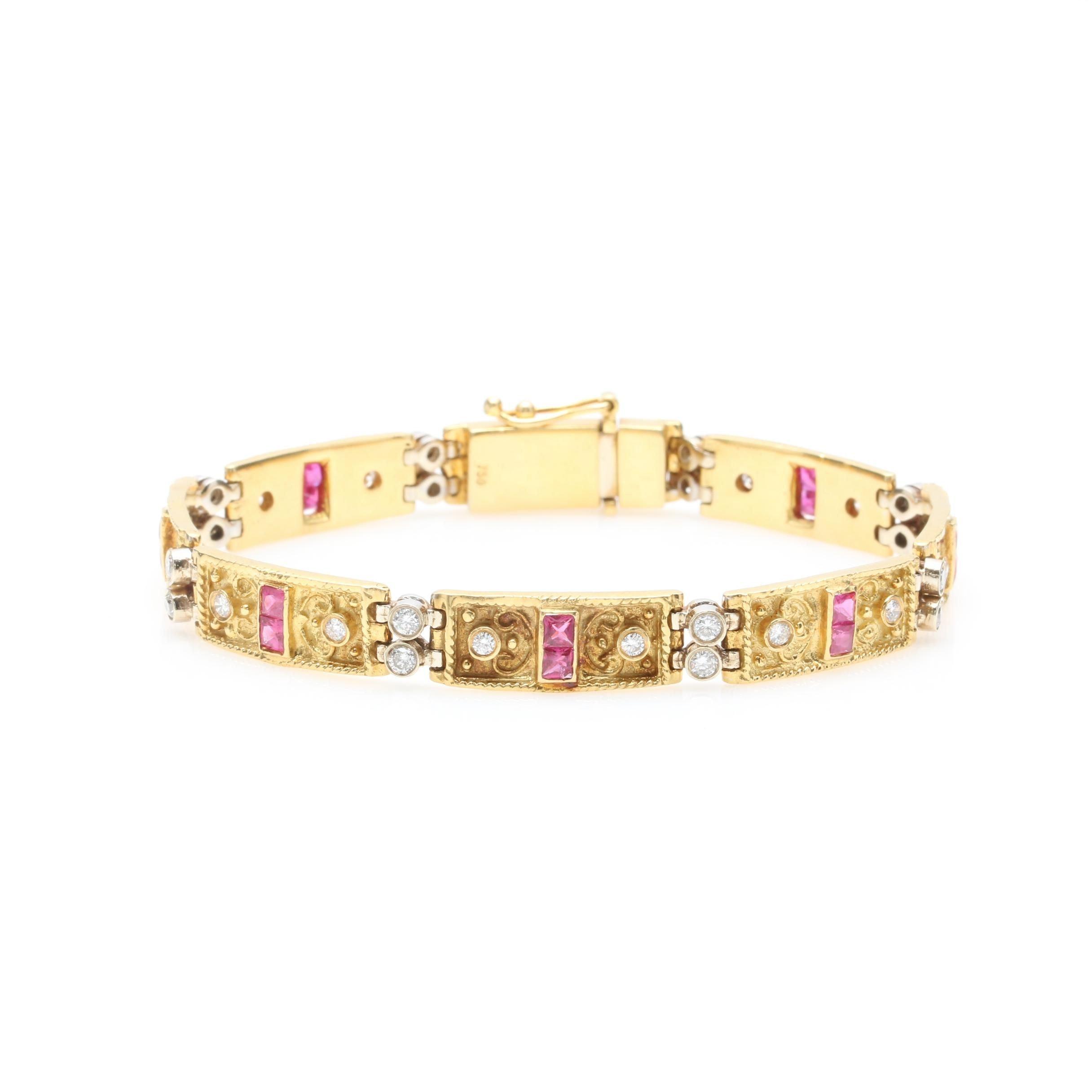 18K Two Tone Gold 1.28 CTW Diamond and Ruby Bracelet