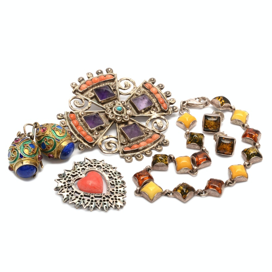 Assorted Sterling Silver Gemstone Jewelry : EBTH
