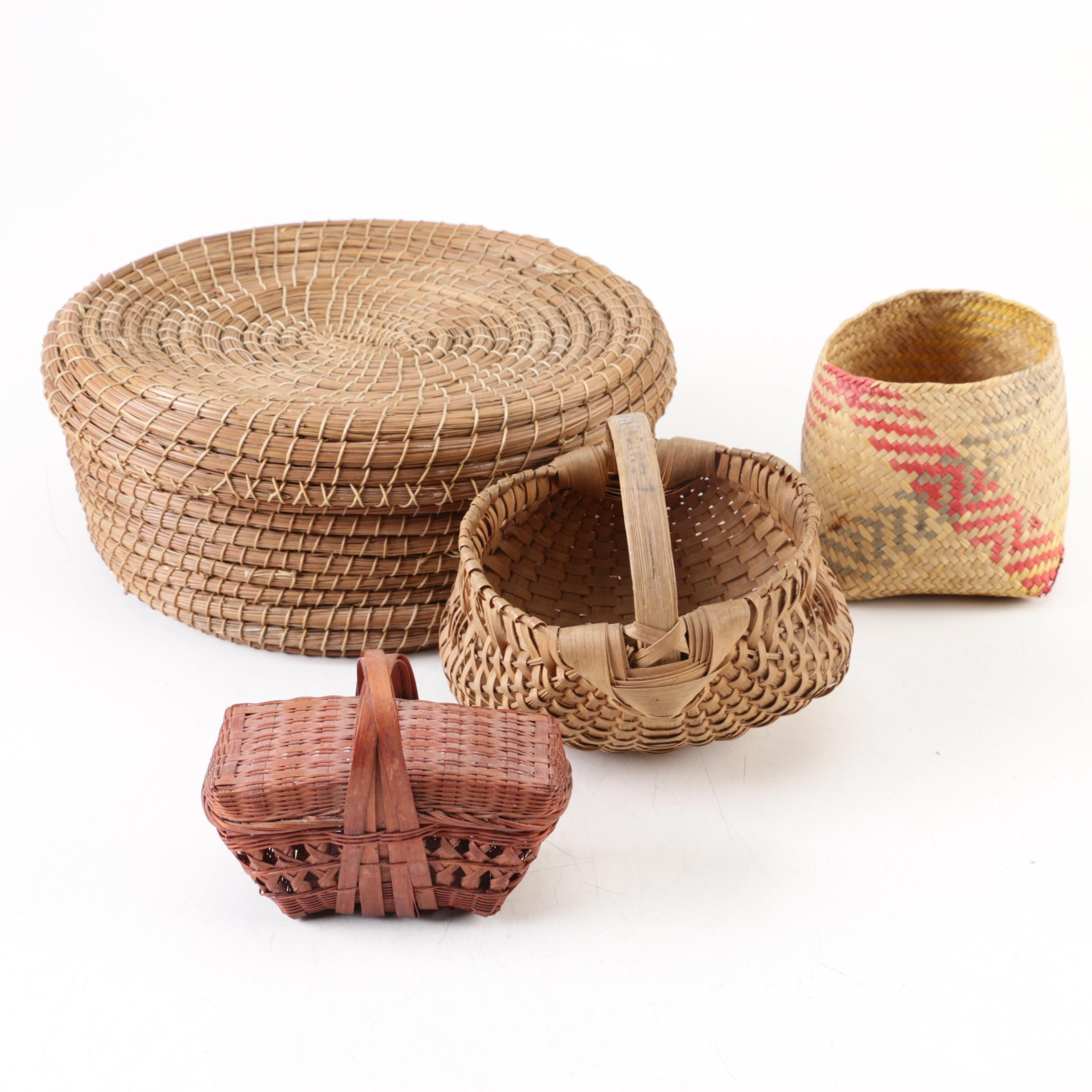 Woven Baskets Including a Round Pine Needle Basket