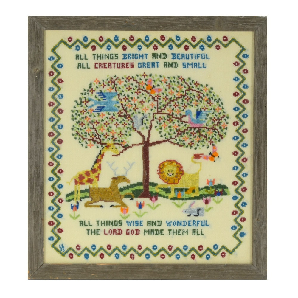 Cross-Stitch Embroidery Wall Hanging