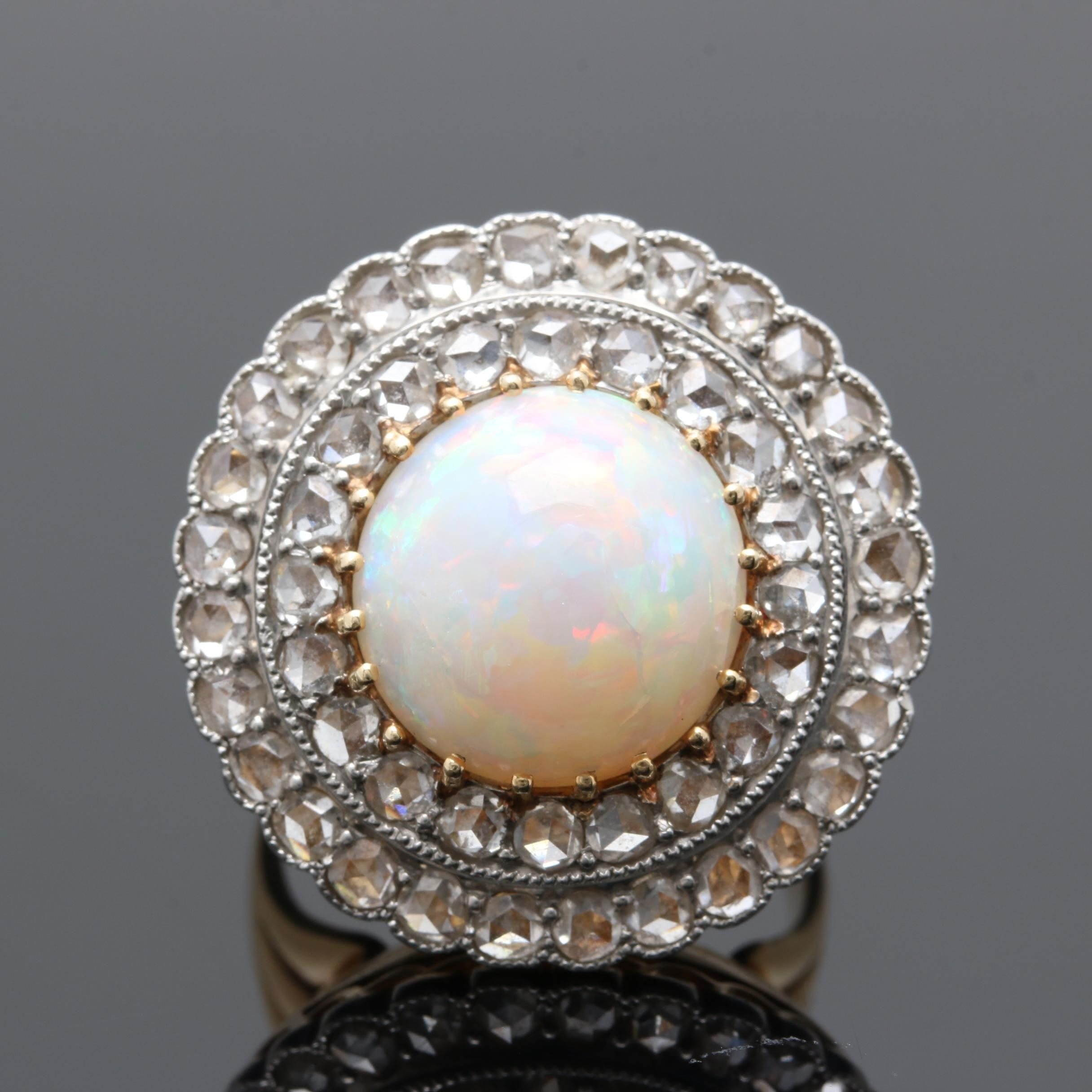 14K Yellow Gold and Platinum Opal and Diamond Ring
