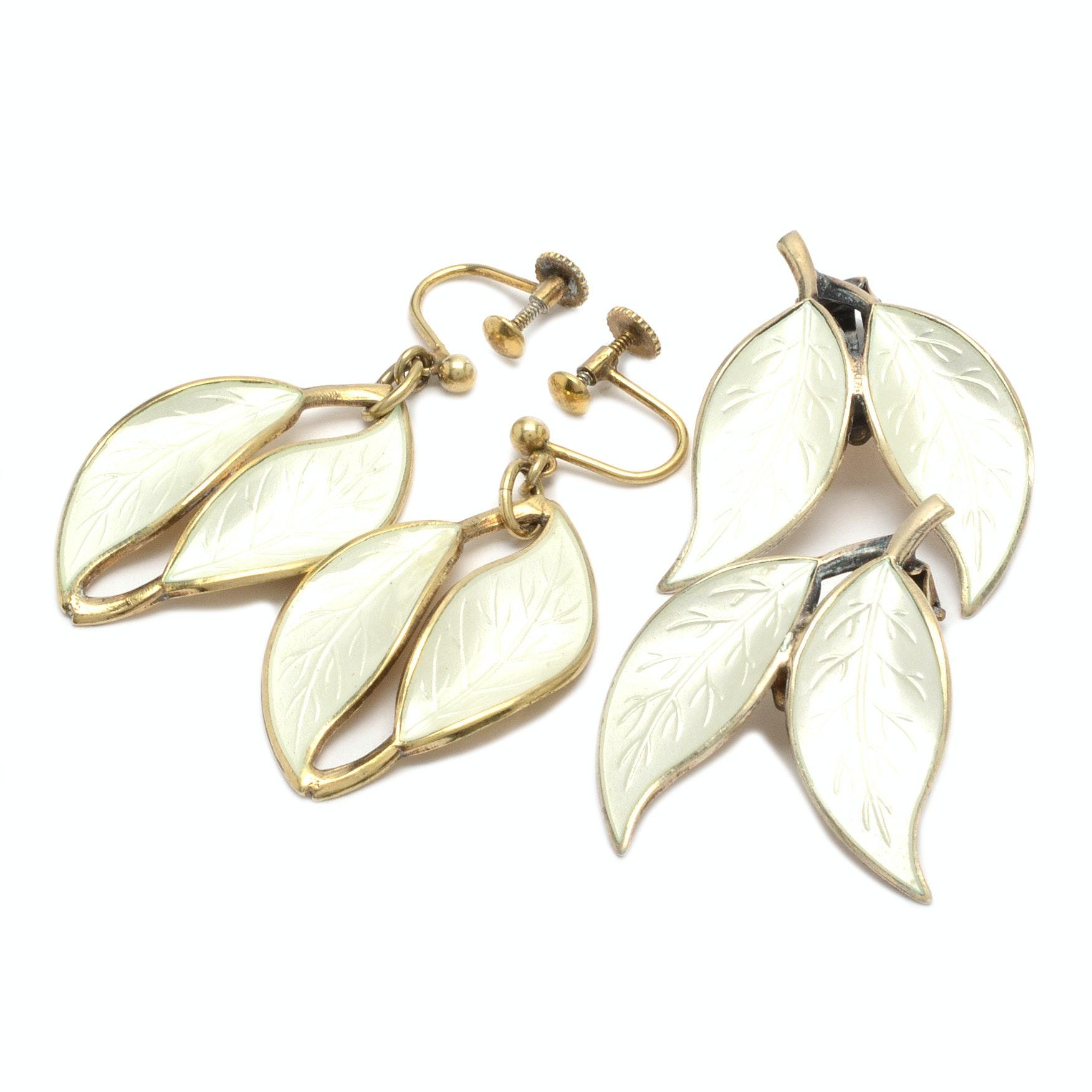 David Andersen Sterling Silver Enamel Leaf Earrings