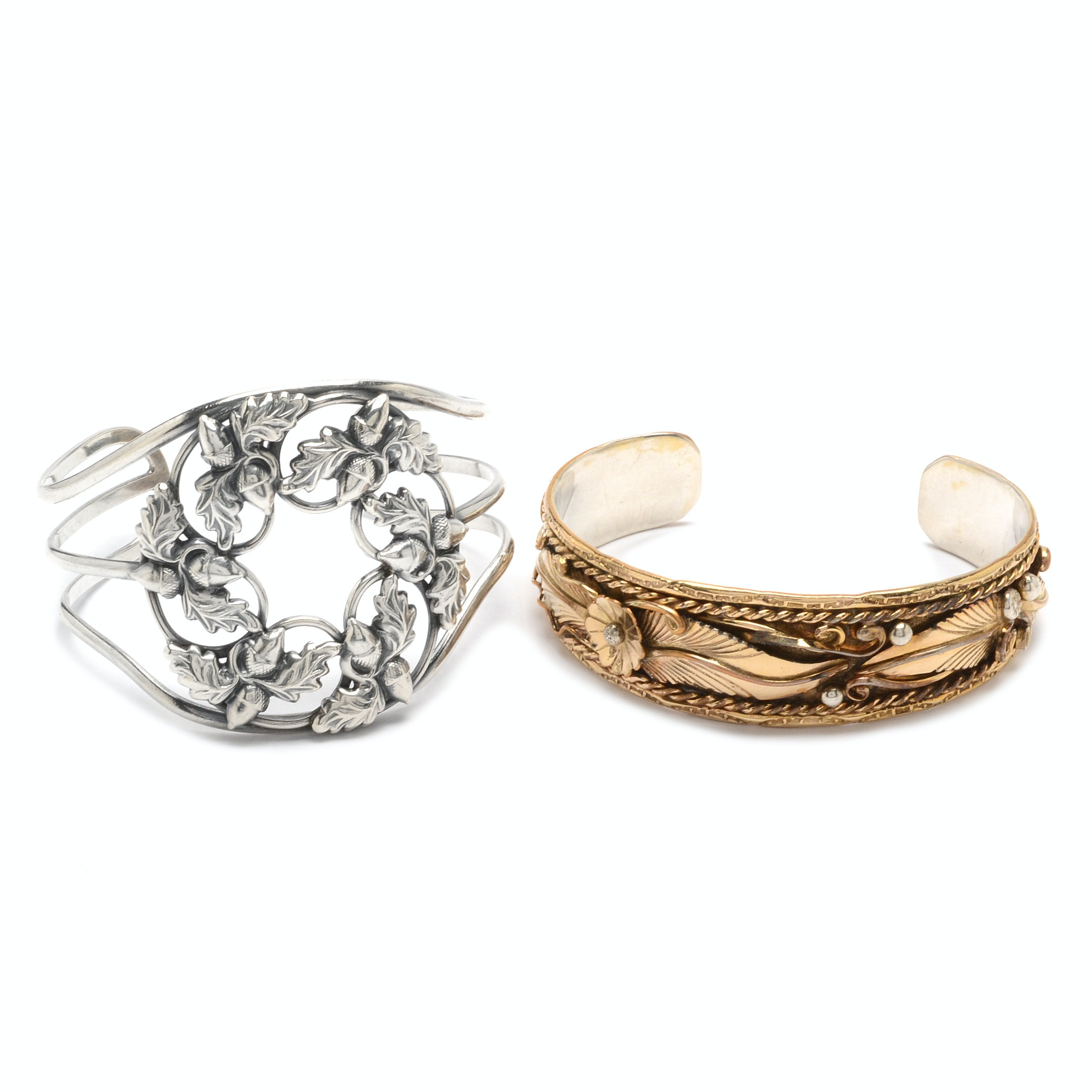 Danecraft Sterling Silver Cuff and Sterling Silver and Gold Filled Bracelet