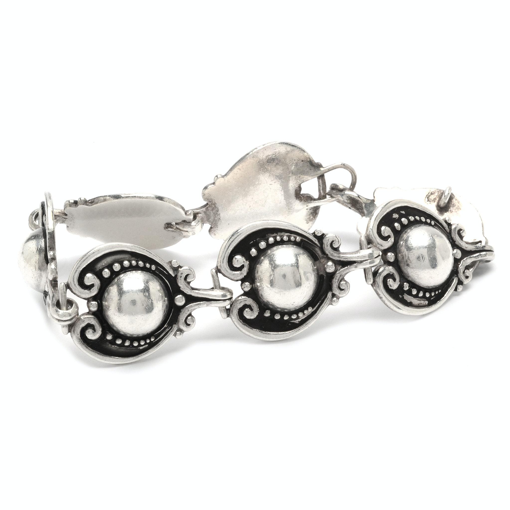 Signed Margot de Taxco Sterling Silver Bracelet