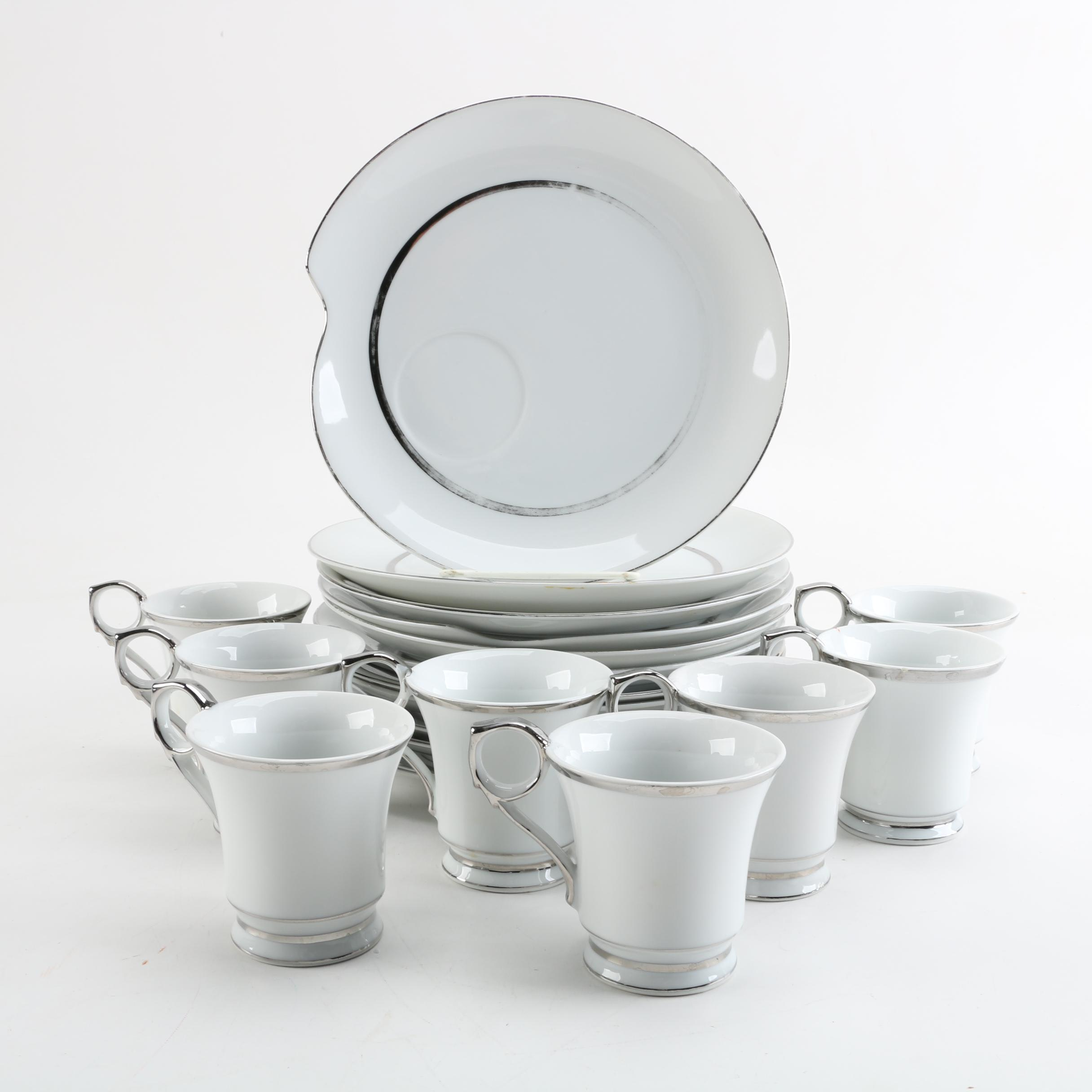 Vintage Renaissance Porcelain Snack Plates and Mugs with Silver Accents