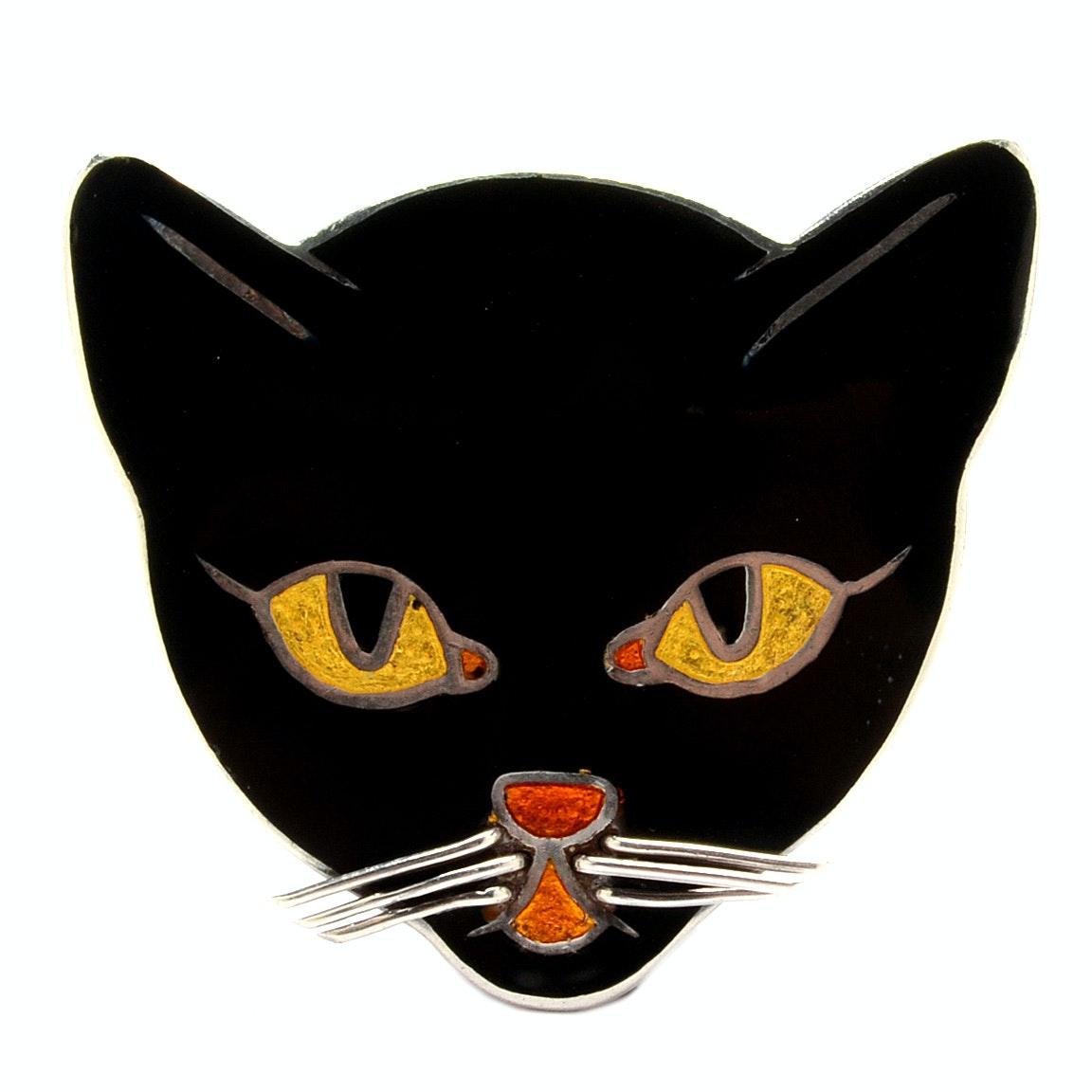 Margot de Taxco Sterling Silver Enamel Cat Brooch