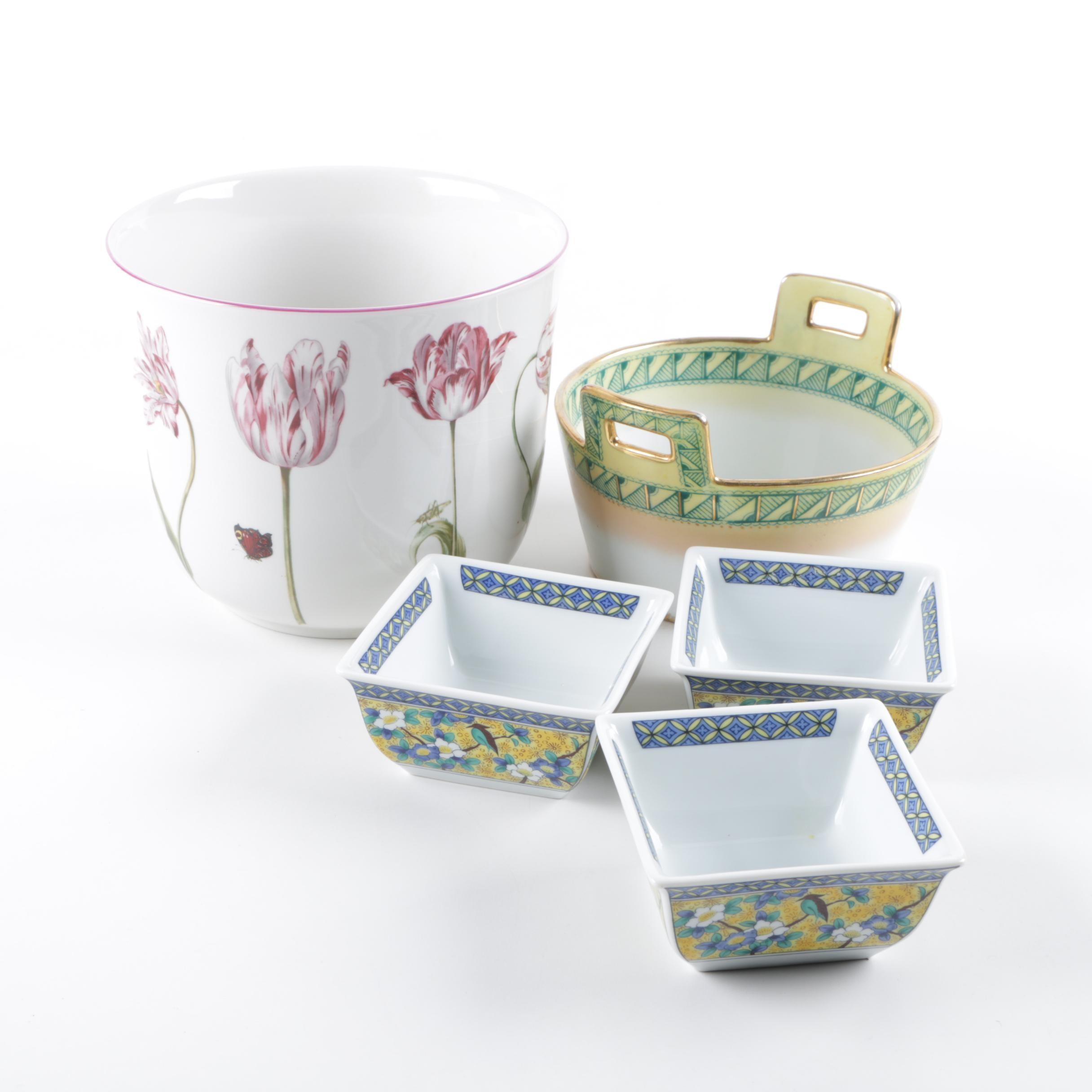 Ceramic Planter and Decorative Tableware Assortment