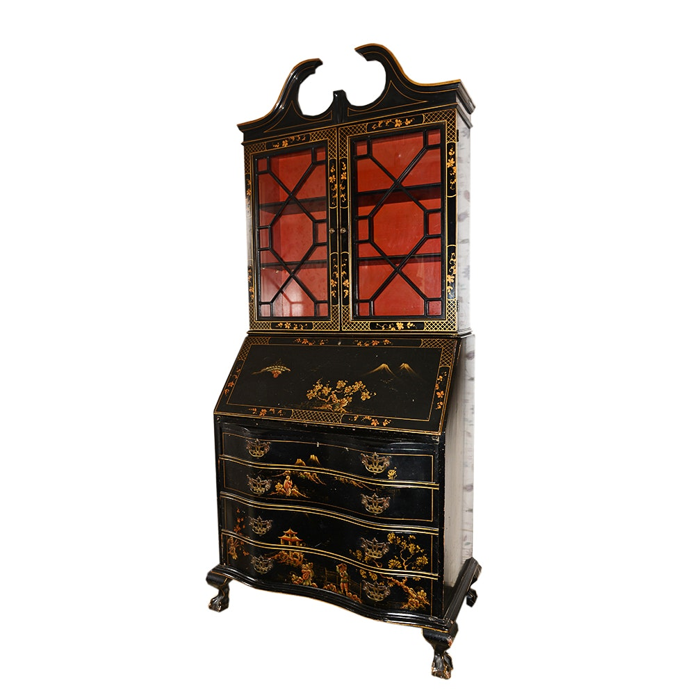 Vintage Chinese Chippendale Chinoiserie Secretary