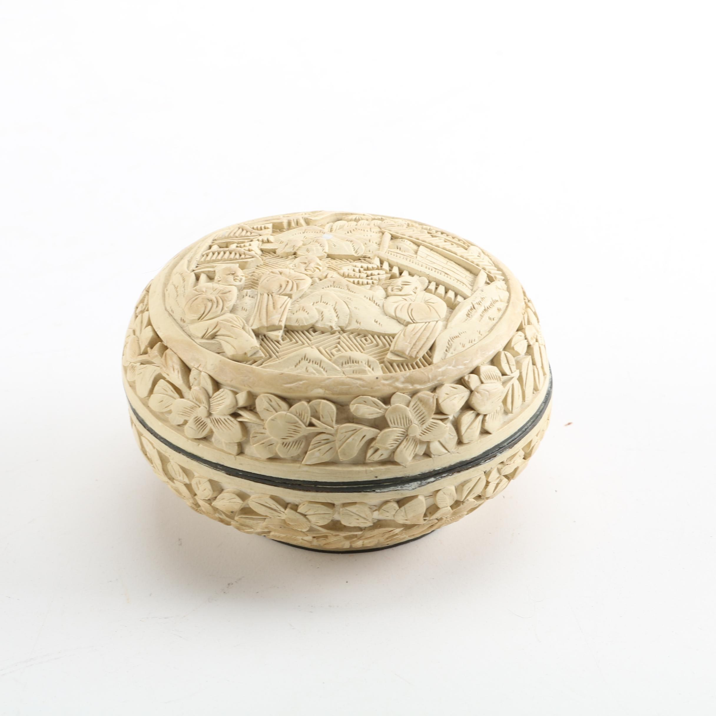 Chinese Carved Resin Trinket Box