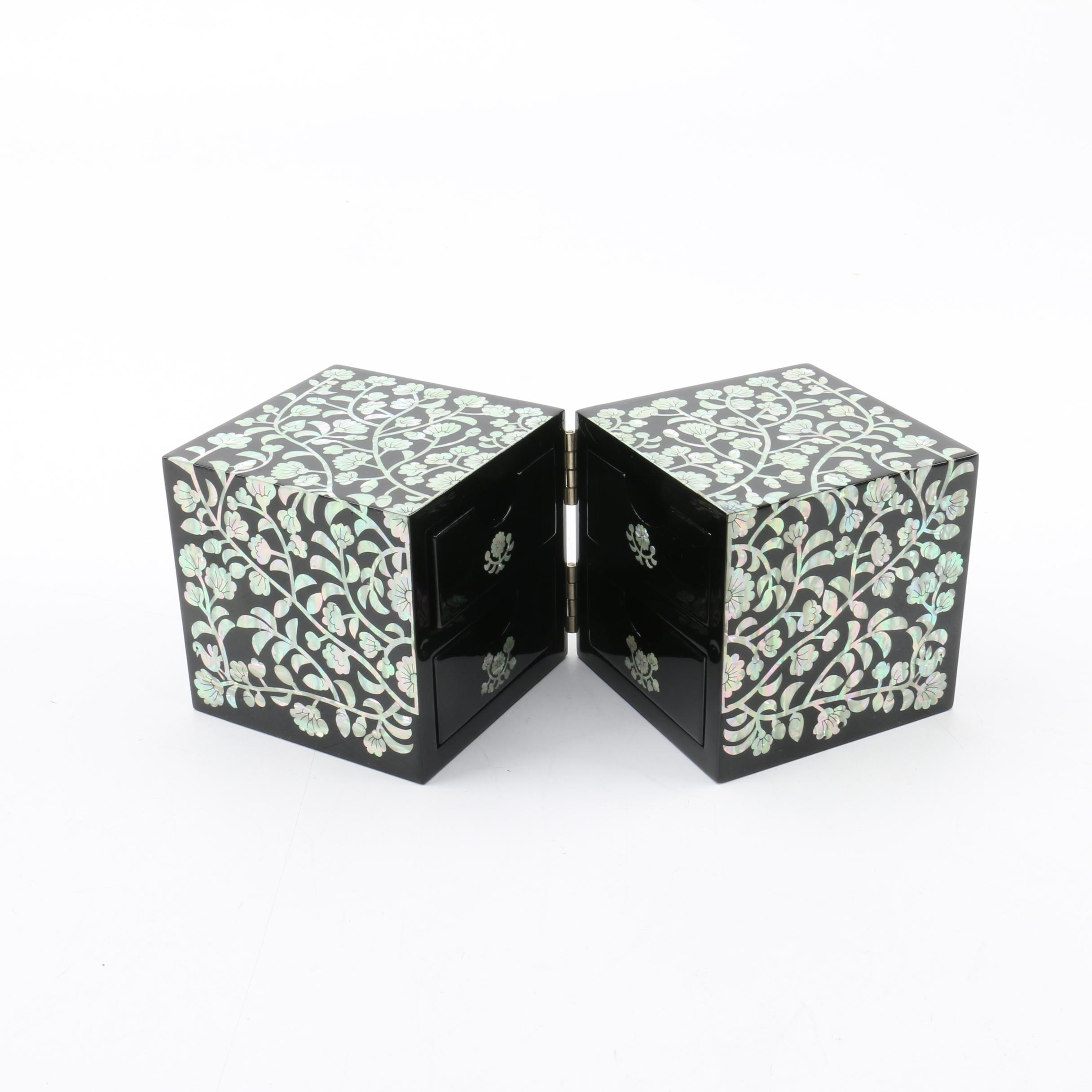 Lacquered Jewelry Box With Abalone Inlay