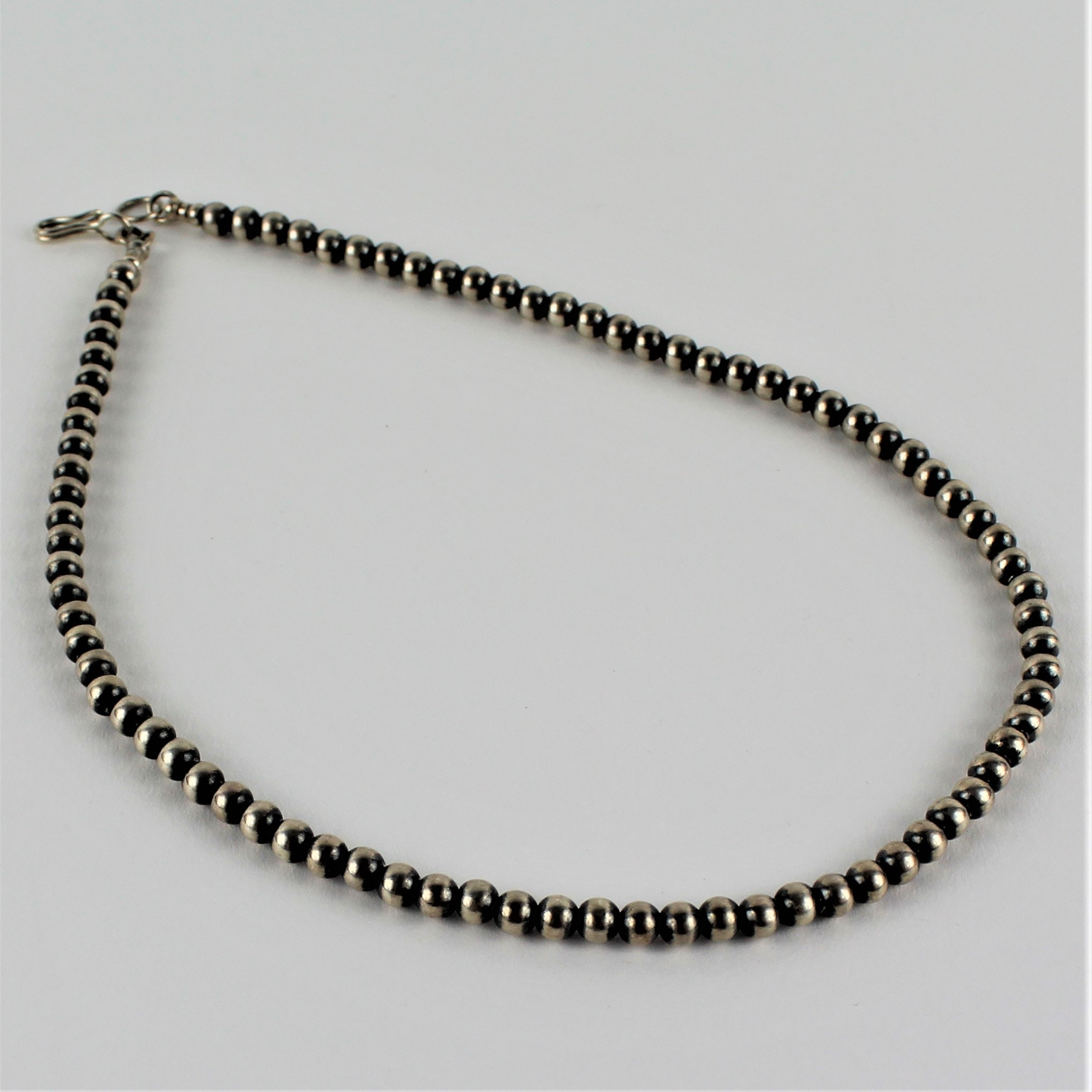 Gertrude Zachary Anglo Southwest Style Sterling Silver Beaded Ball Necklace