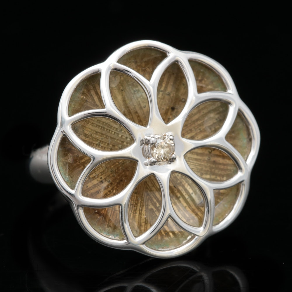 Sterling Silver, Brown Diamond and Enamel Flower Ring