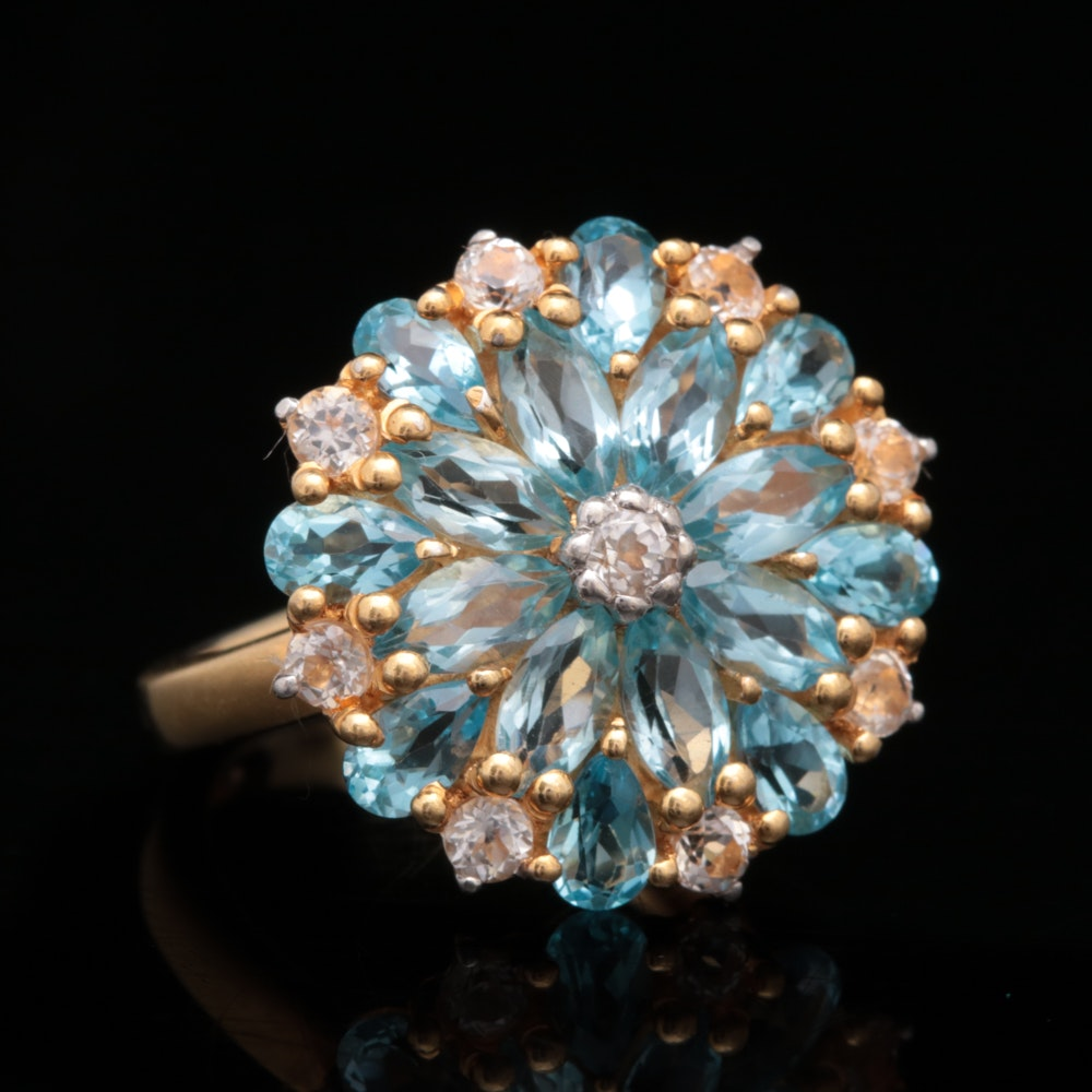 Gold Wash on Sterling Silver, Blue and White Topaz Ring