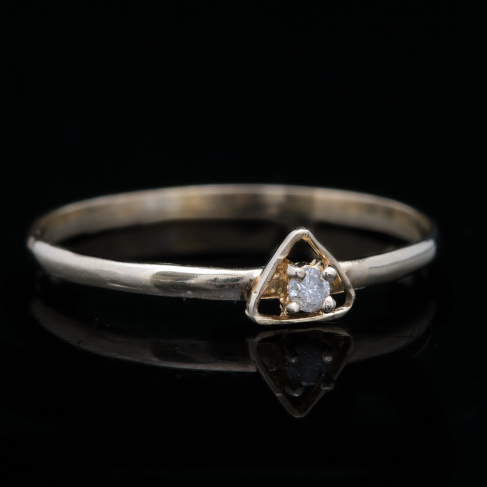 14K Yellow Gold and Diamond Solitaire Ring