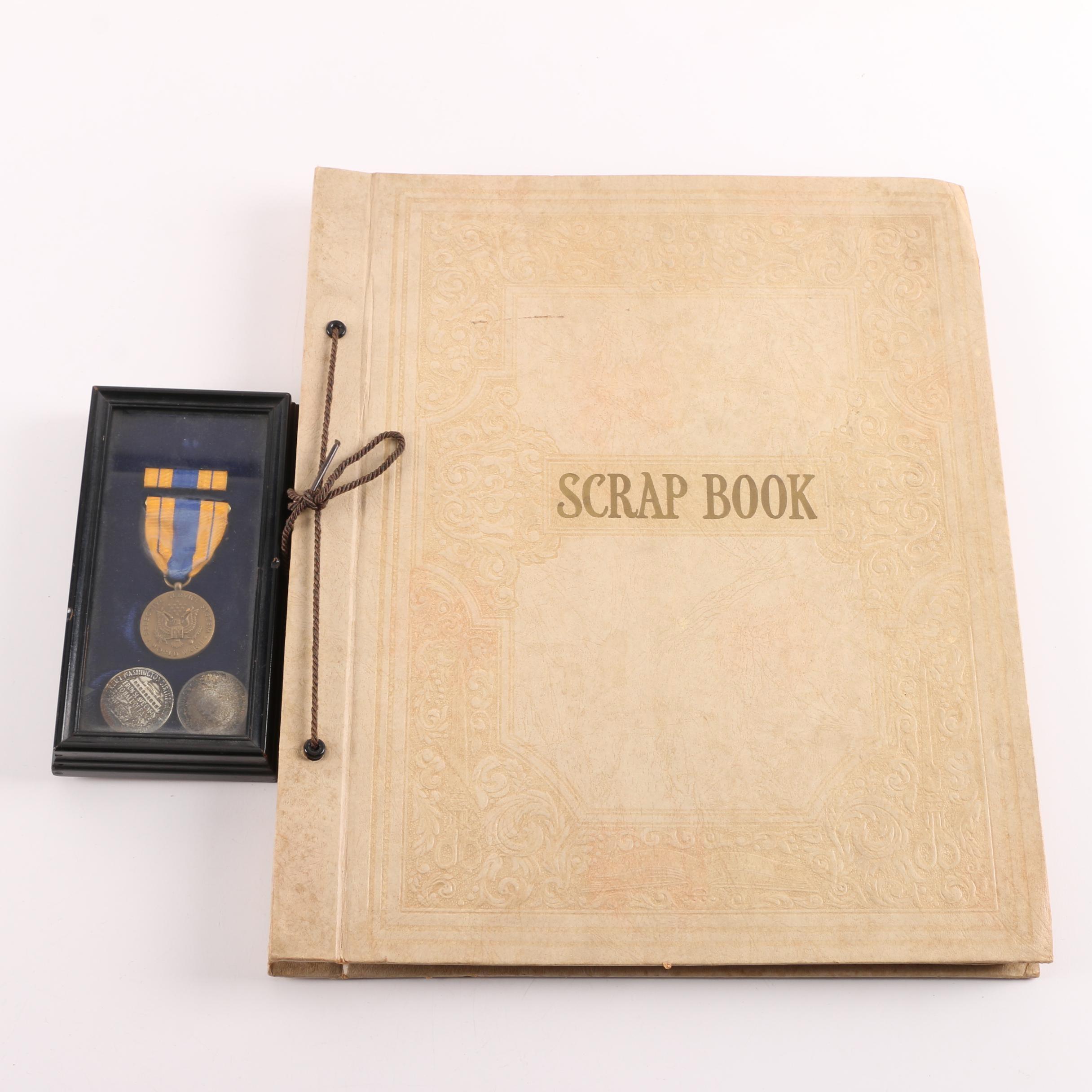Franklin D Roosevelt Scrapbook with Medals