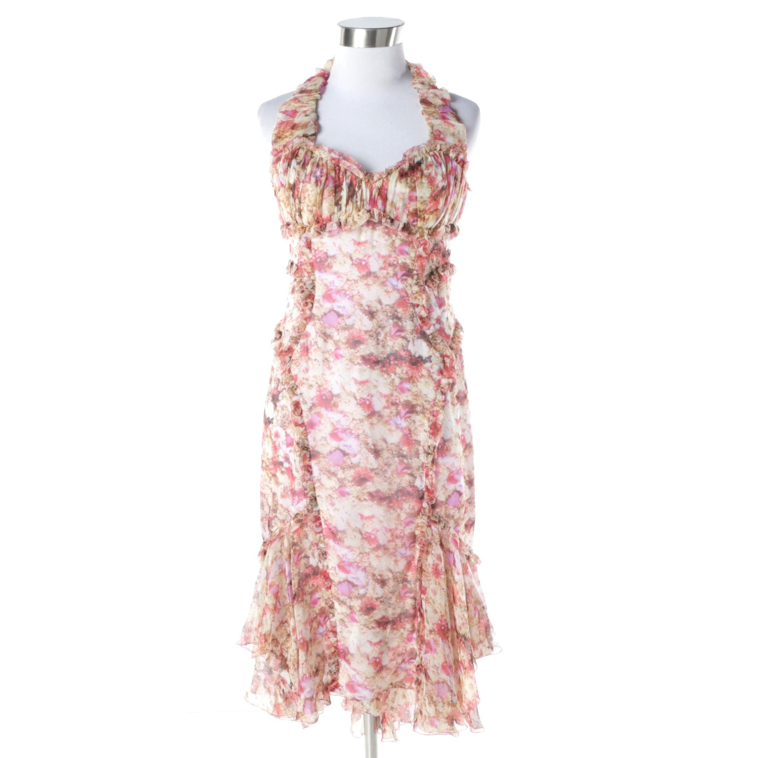 Zac Posen Garden Print Silk Chiffon Siren Dress