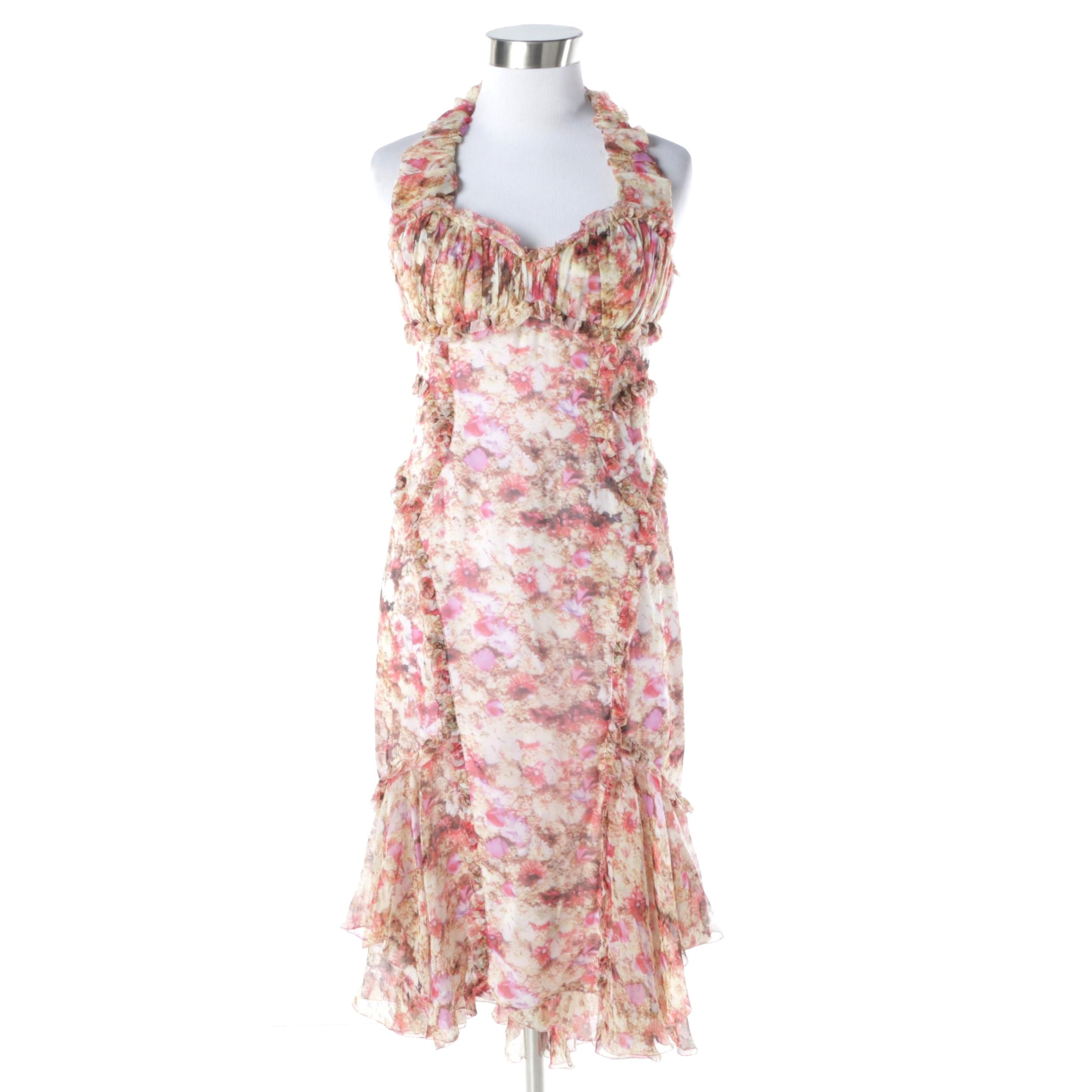 Zac Posen Garden Print Silk Chiffon Siren Dress