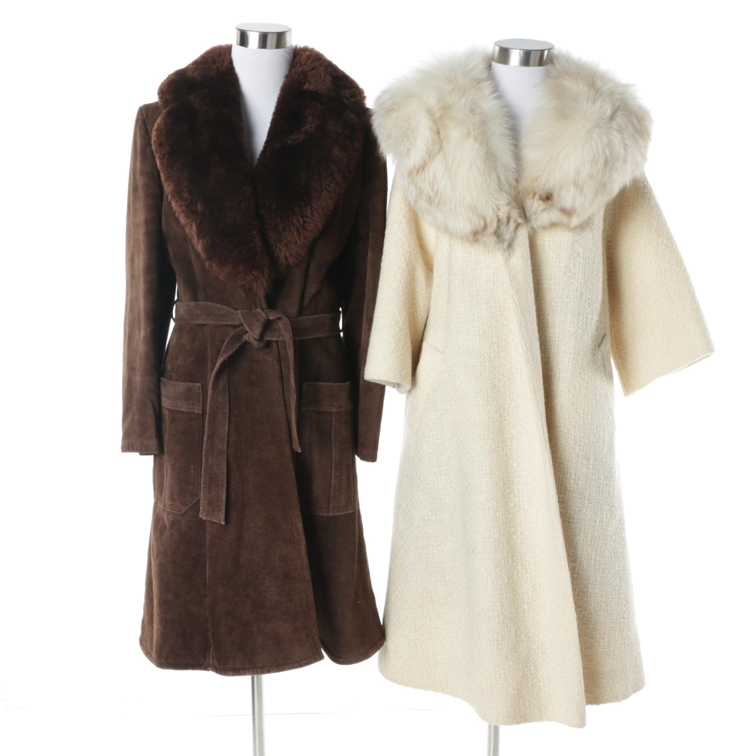 1960s Vintage Swing Coats with Fox and Faux Fur Collars