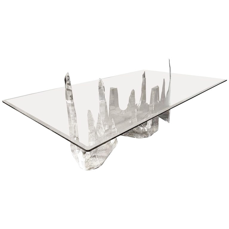 "Modernist Lucite ""Iceberg"" Dining Table by Stephen K. Frye for Lion in Frost"