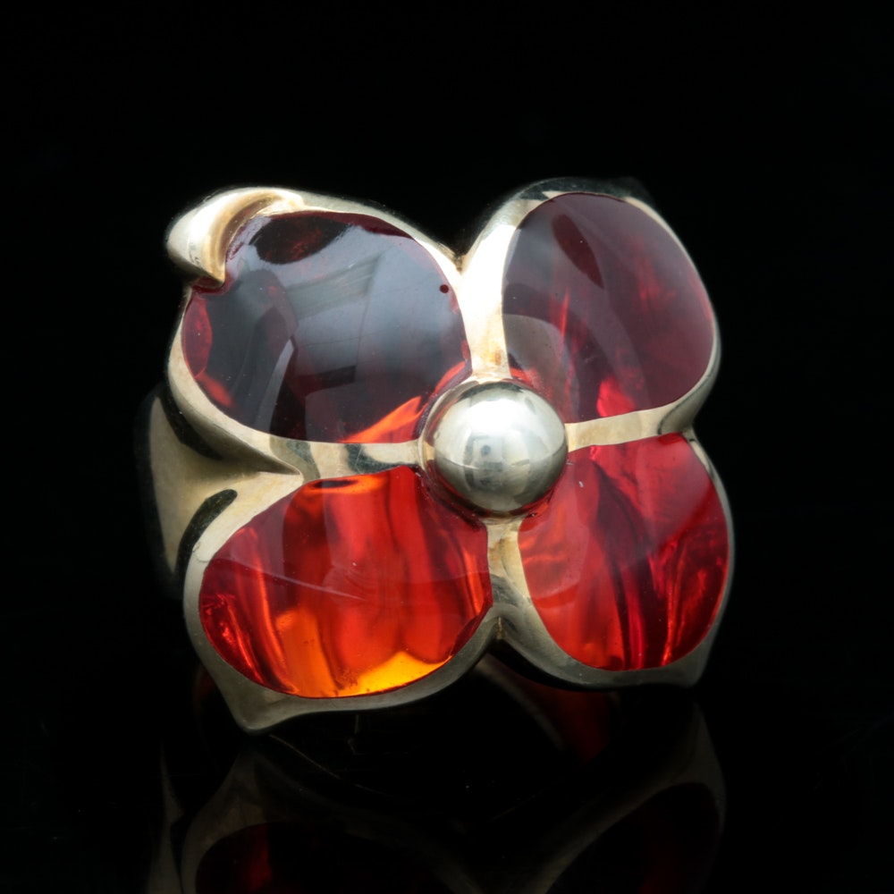 Andrew Hamilton Crawford Gold Wash on Sterling Silver and Red Resin Ring