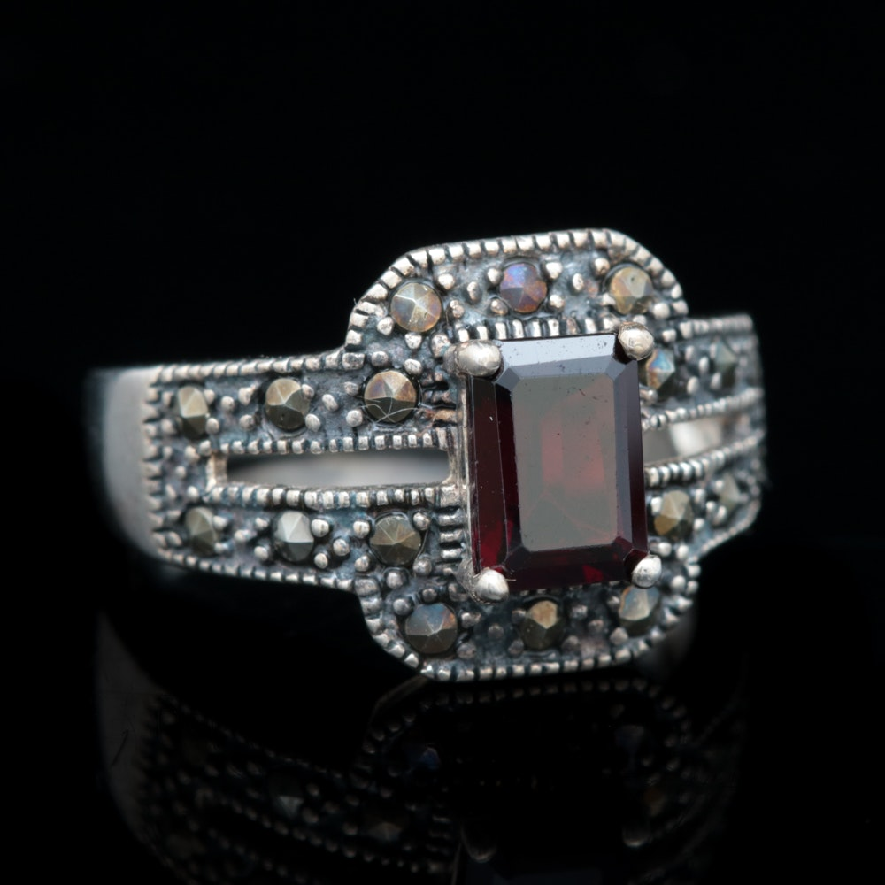 Sterling Silver, Garnet and Marcasite Ring
