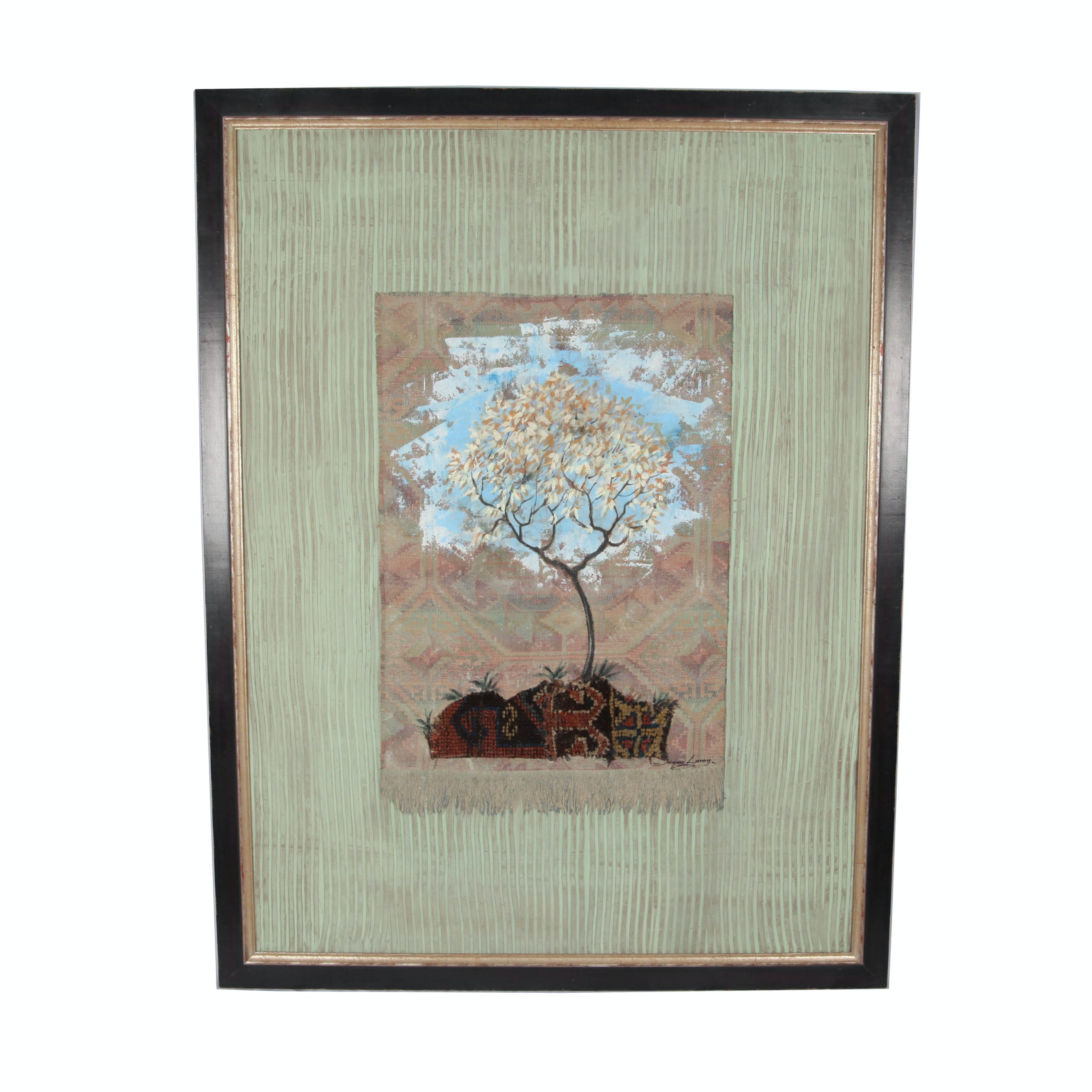 Jacques Lamy Contemporary Mixed Media Painting of Autumn Tree