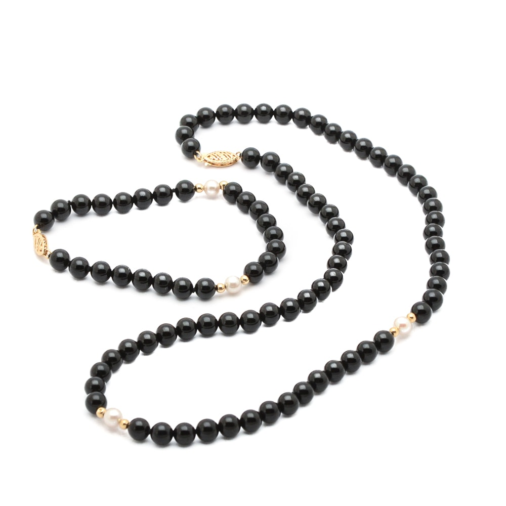Black Onyx and Cultured Pearl Necklace and Bracelet