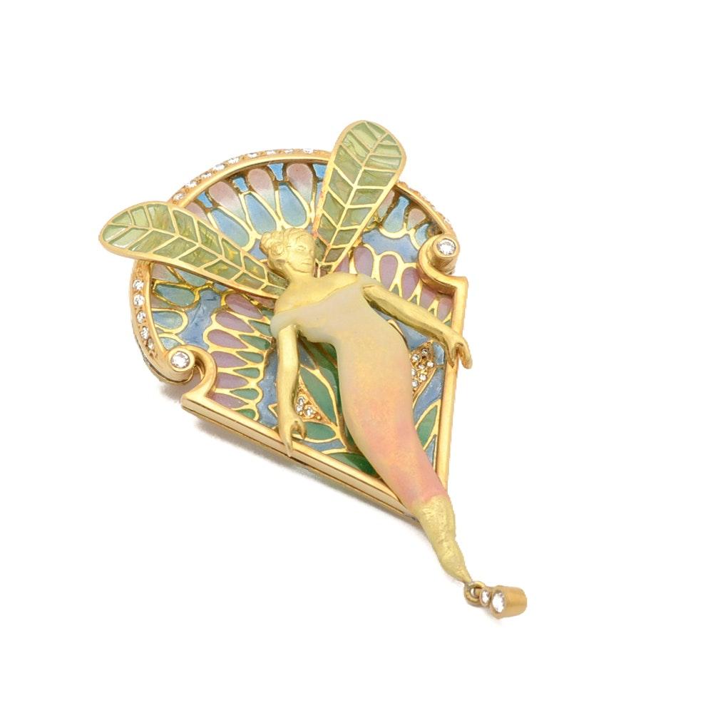 Art Nouveau 1910 18K Gold Diamond Fairy Converter Brooch