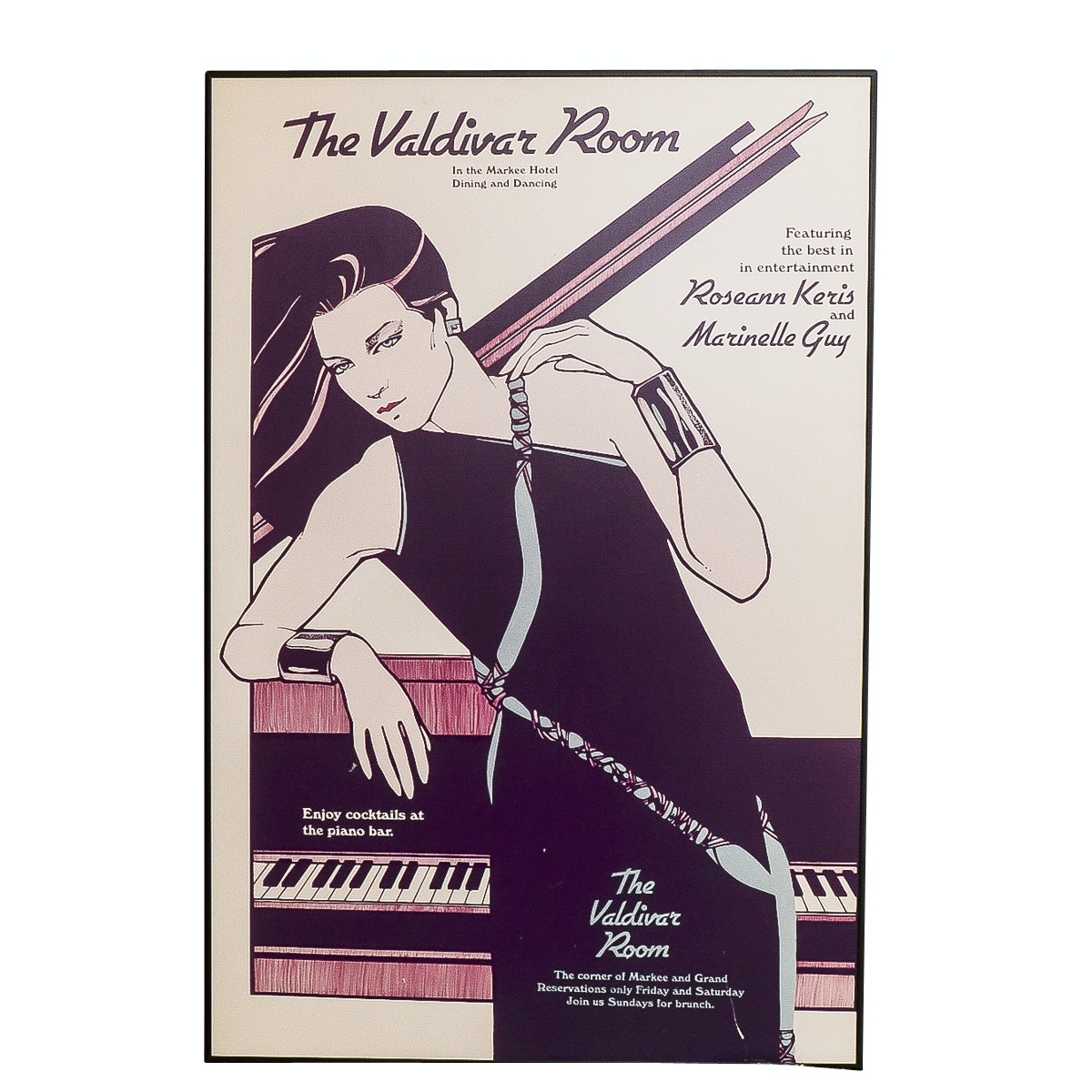 """L.A Law"" Prop Poster ""The Valdivar Room"" Piano Lounge In Style of Patrick Nagel"