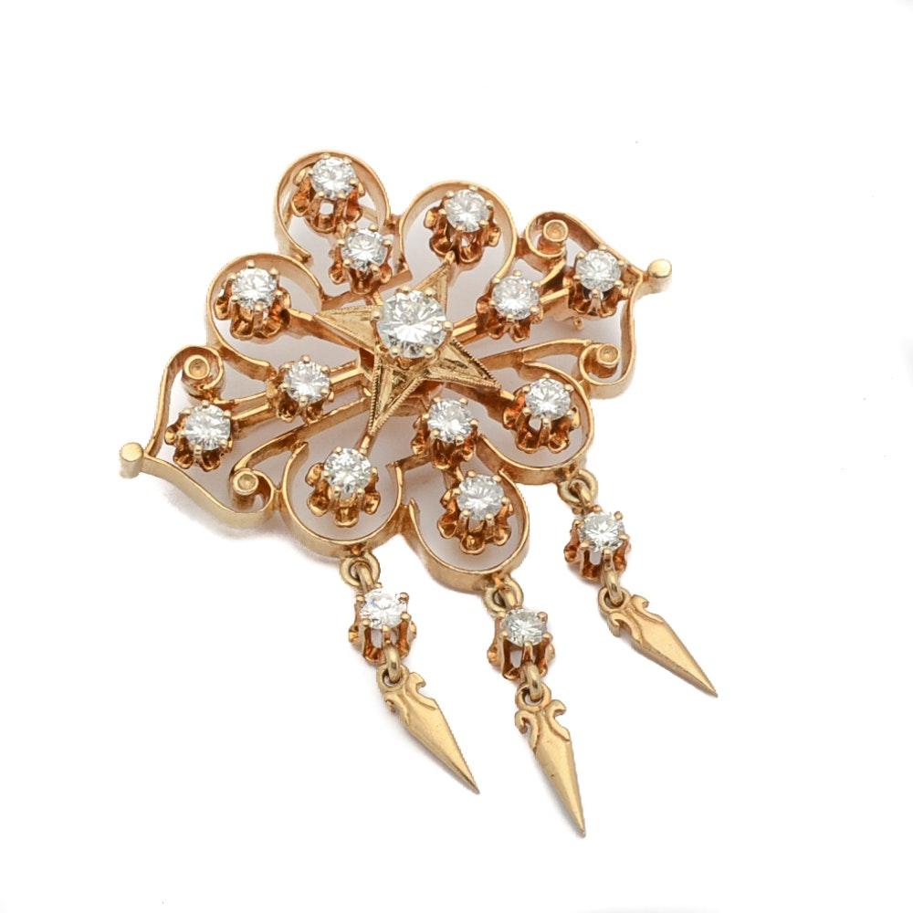 14K Gold 1.24 CTW Diamond Cluster Brooch by Kurt Goldschmidt Jewelers