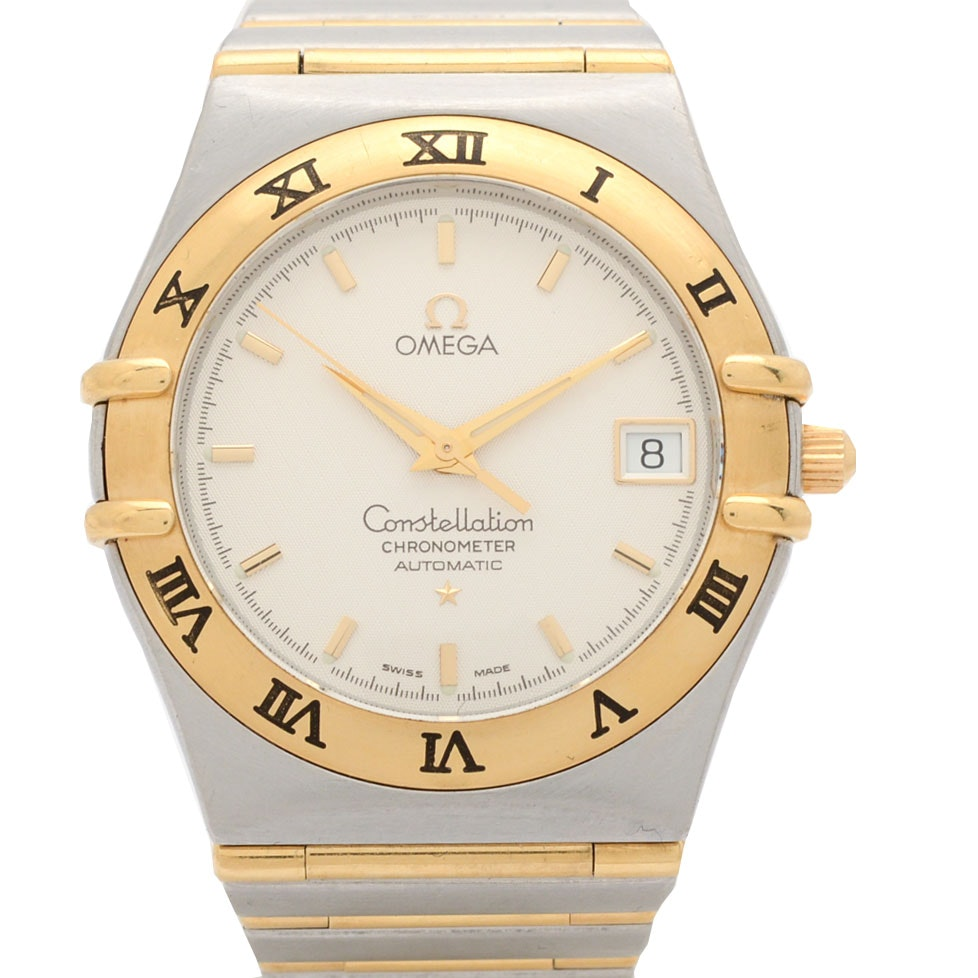 """Omega """"Constellation"""" 18K Gold and Stainless Steel Wristwatch"""
