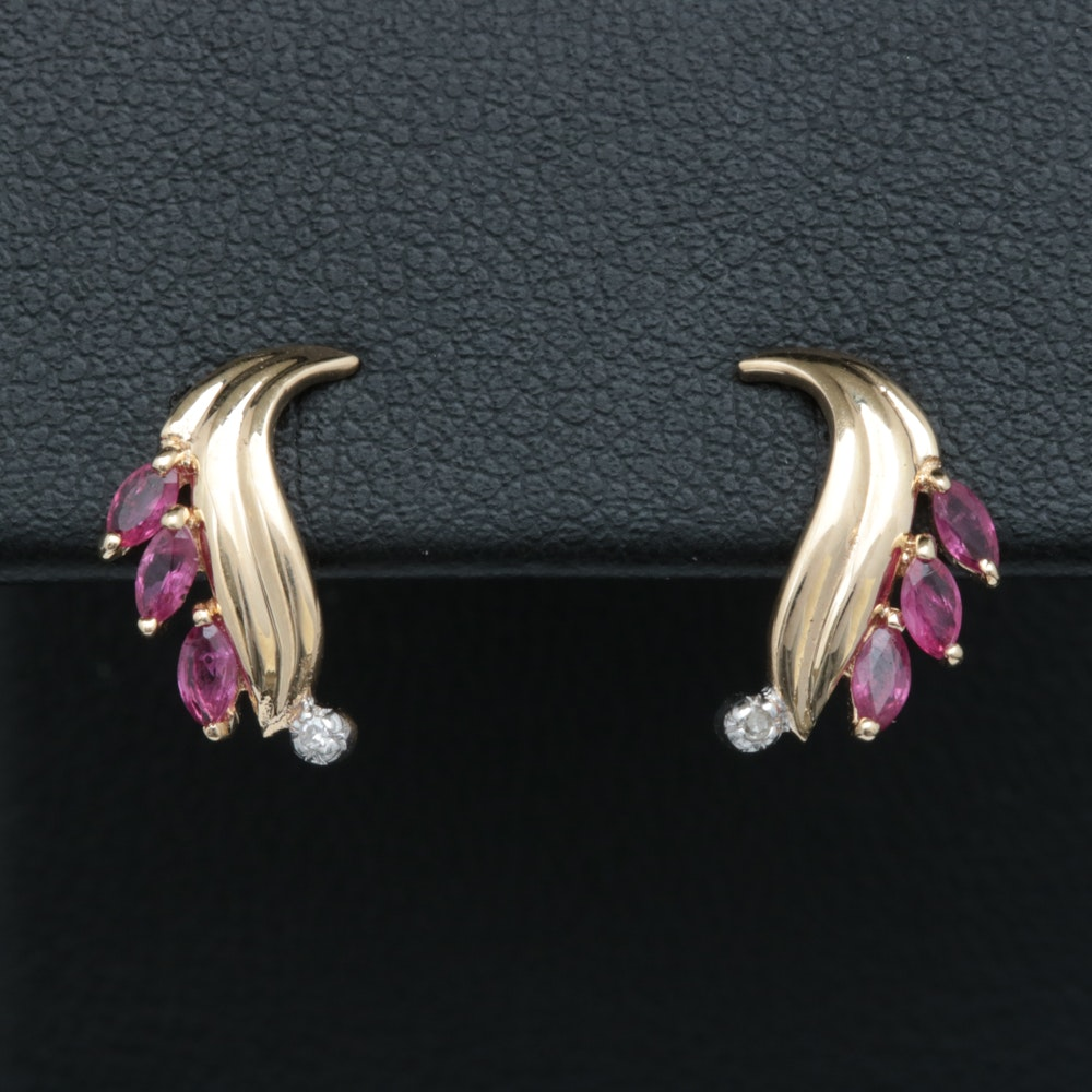 14K Yellow Gold, Ruby and Diamond Earrings