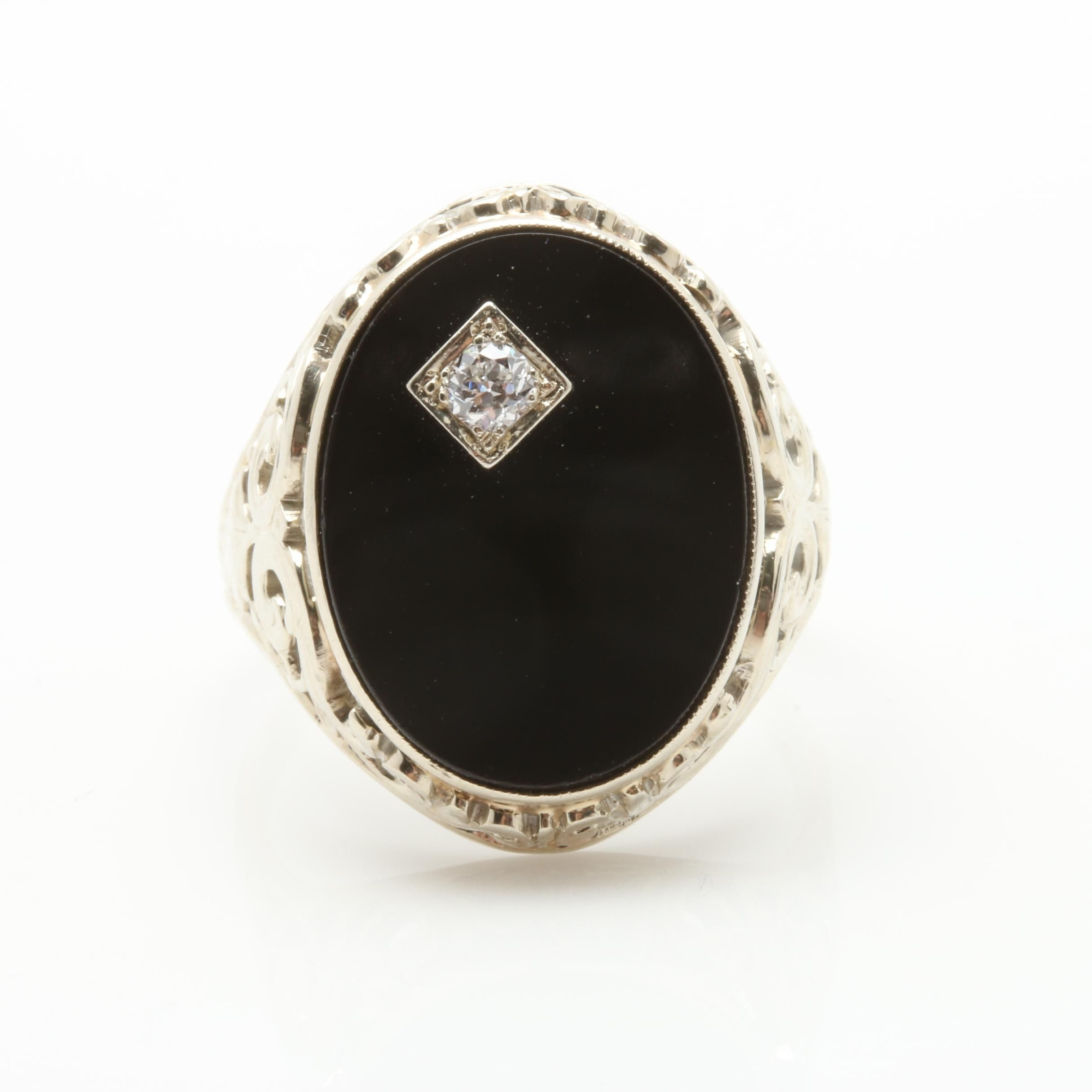Anchor 18K White Gold Black Onyx and Diamond Ring
